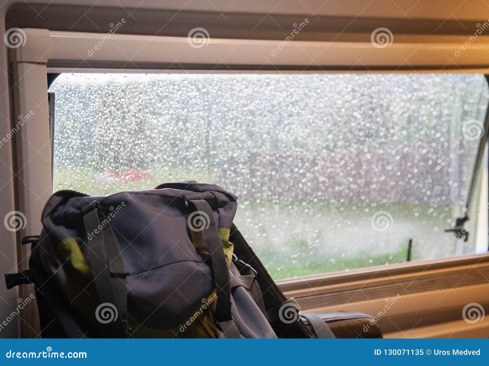 Backpack stock image  Image of nature, window, rain - 130071135