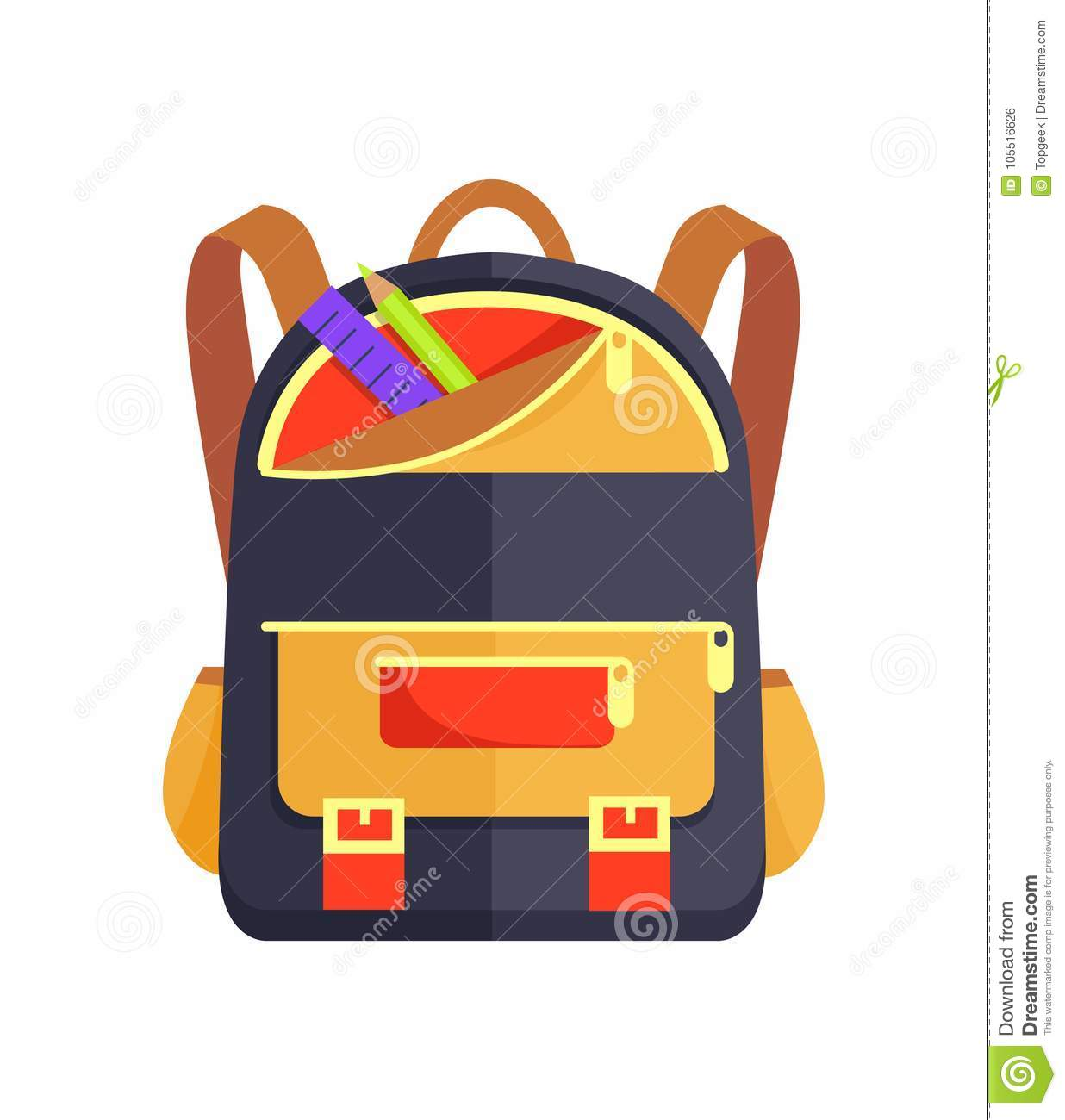 964e21174a Backpack For Kid With School Stationery Accessory Stock Vector ...