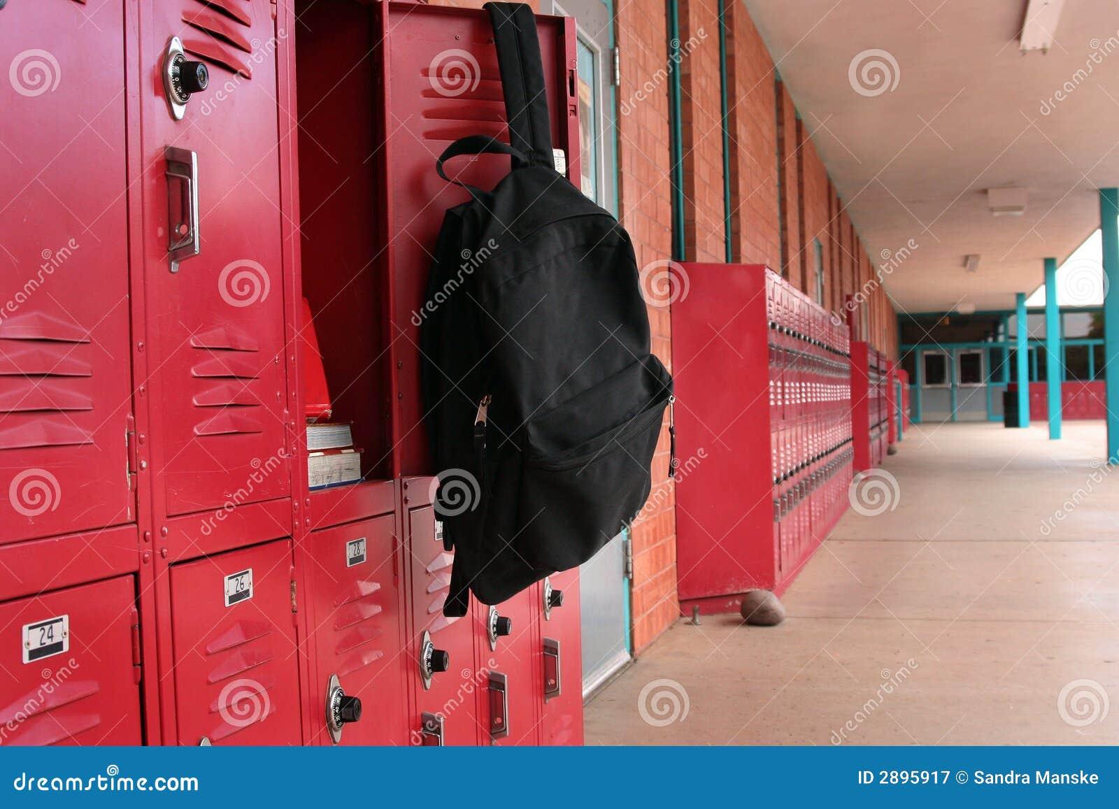 Backpack on locker stock image. Image of girl, locker ...