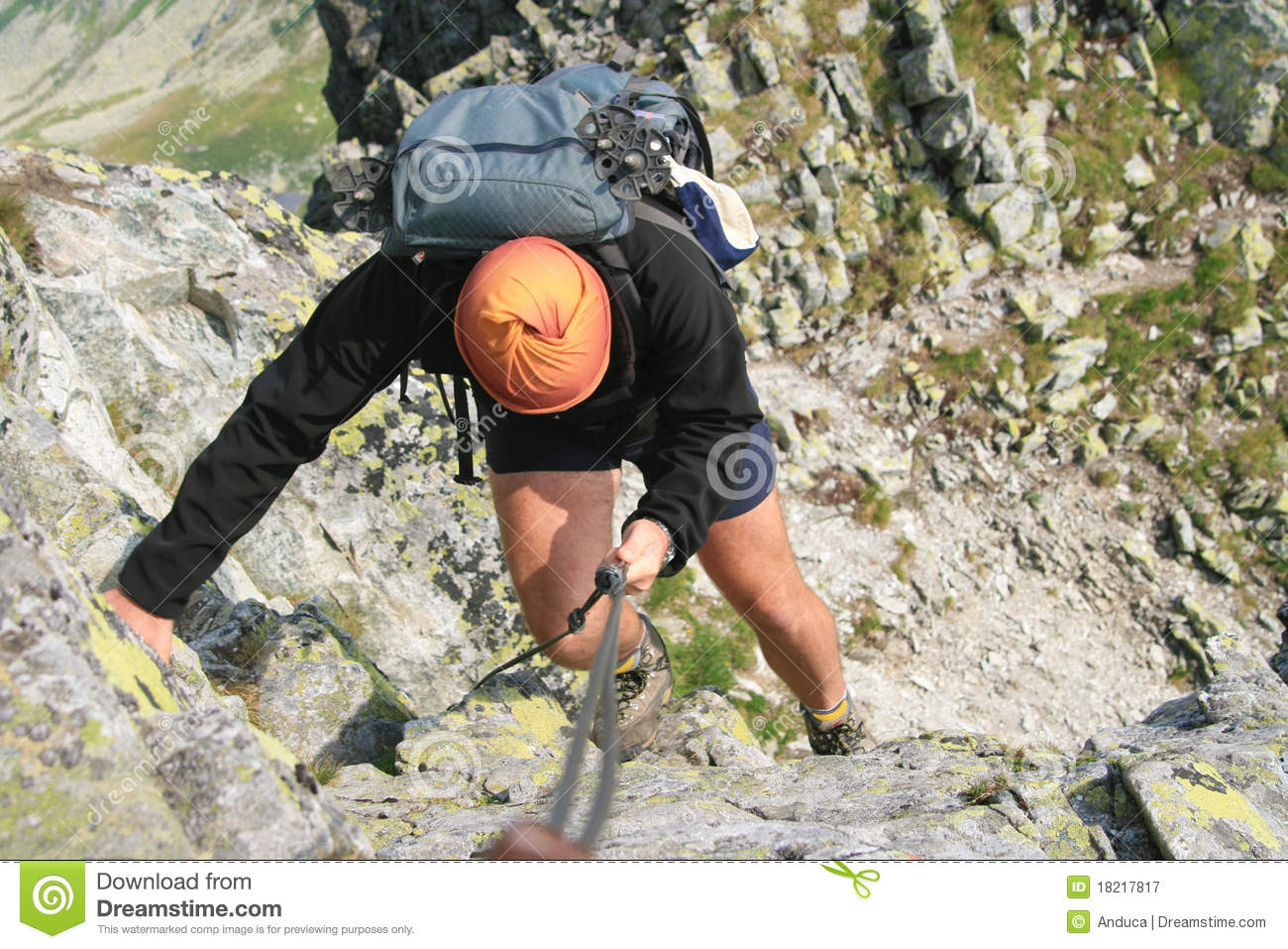 Download Backpack man climbing stock image. Image of active, nature - 18217817