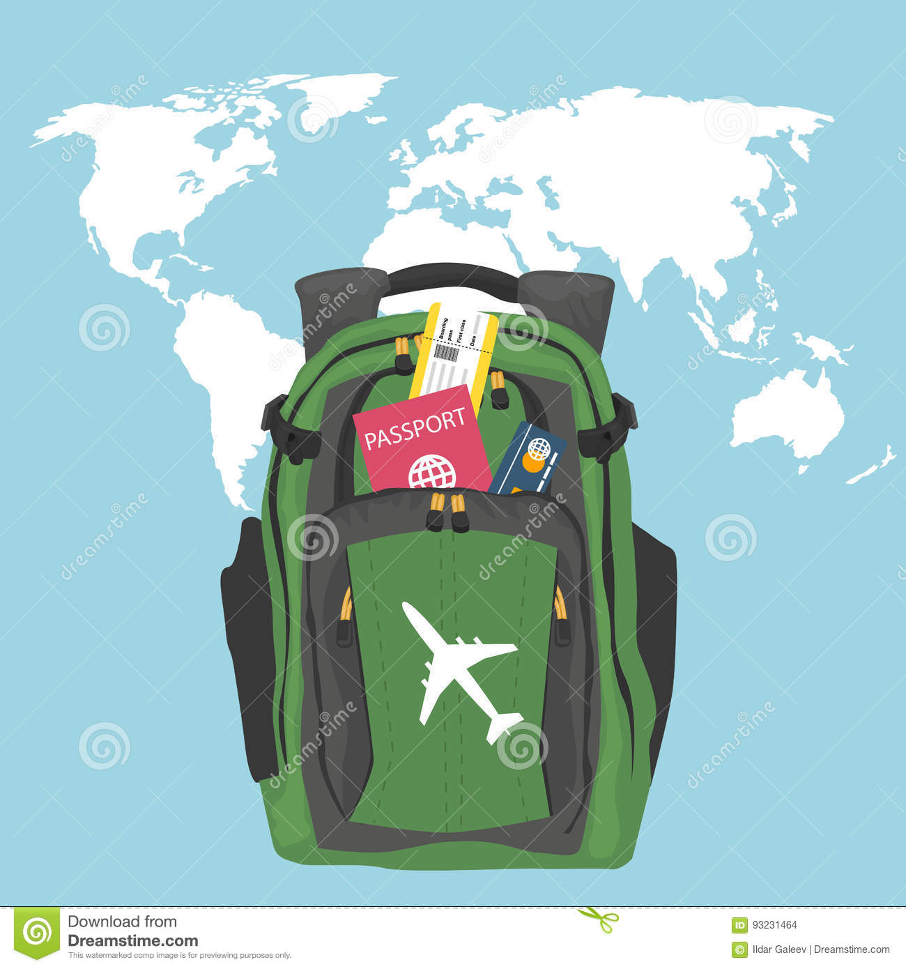 76bd66f3c0 Green backpack with passport