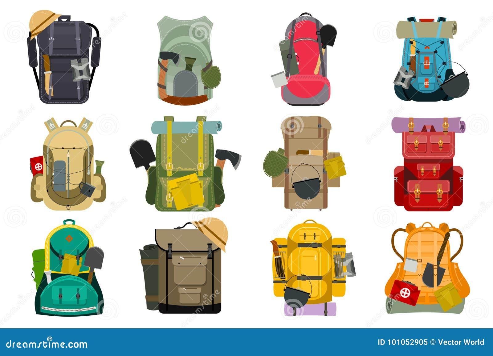 a55bfdd249 Backpack rucksack travel tourist knapsack outdoor hiking traveler backpacker  baggage luggage vector illustration.