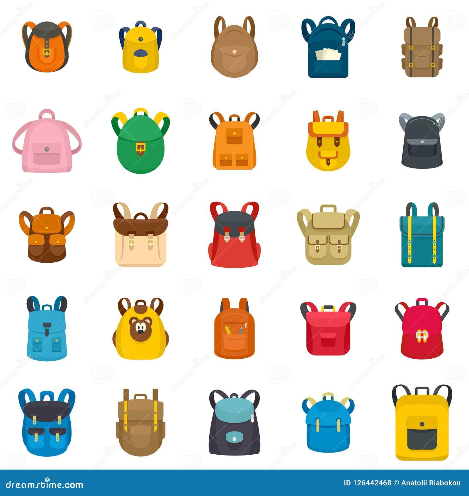 02a135a1b9d3 Backpack school travel sport kid camping bag icons set. Flat illustration  of 25 backpack school travel sport kid camping bag vector icons for web