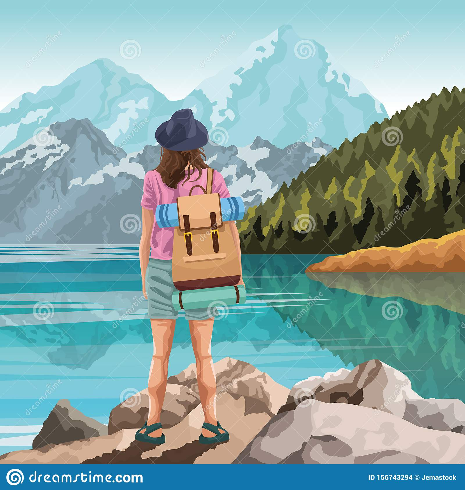 Backpack Traveler In Nature Cartoon Drawing Art Stock Vector Illustration Of Outdoor Holiday 156743294