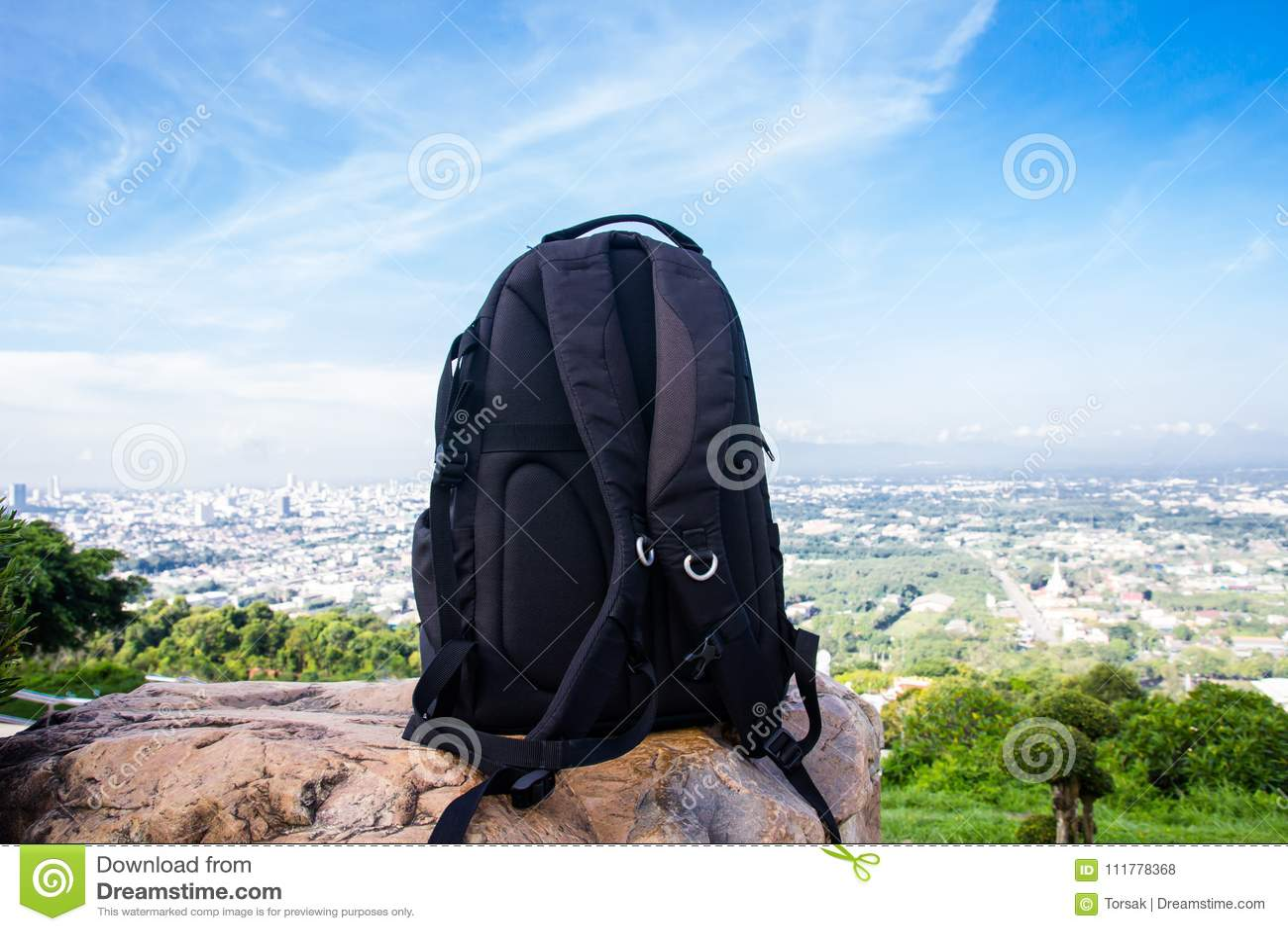 Backpack for traveler on the stone