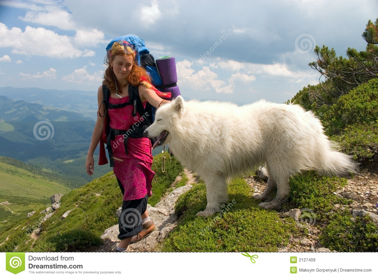 Backpacker girl with dog