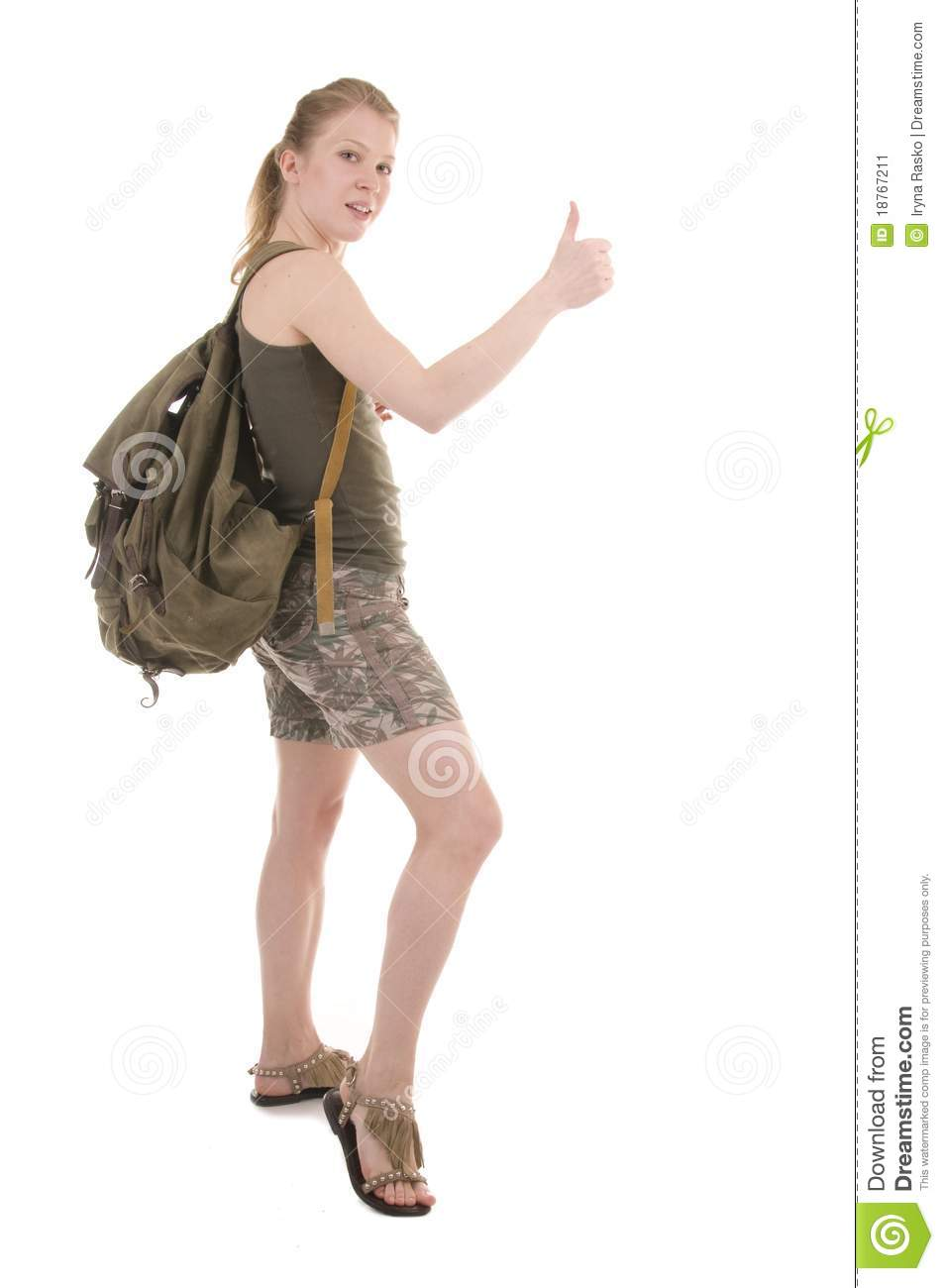 Backpacker A Young Woman Stock Photography