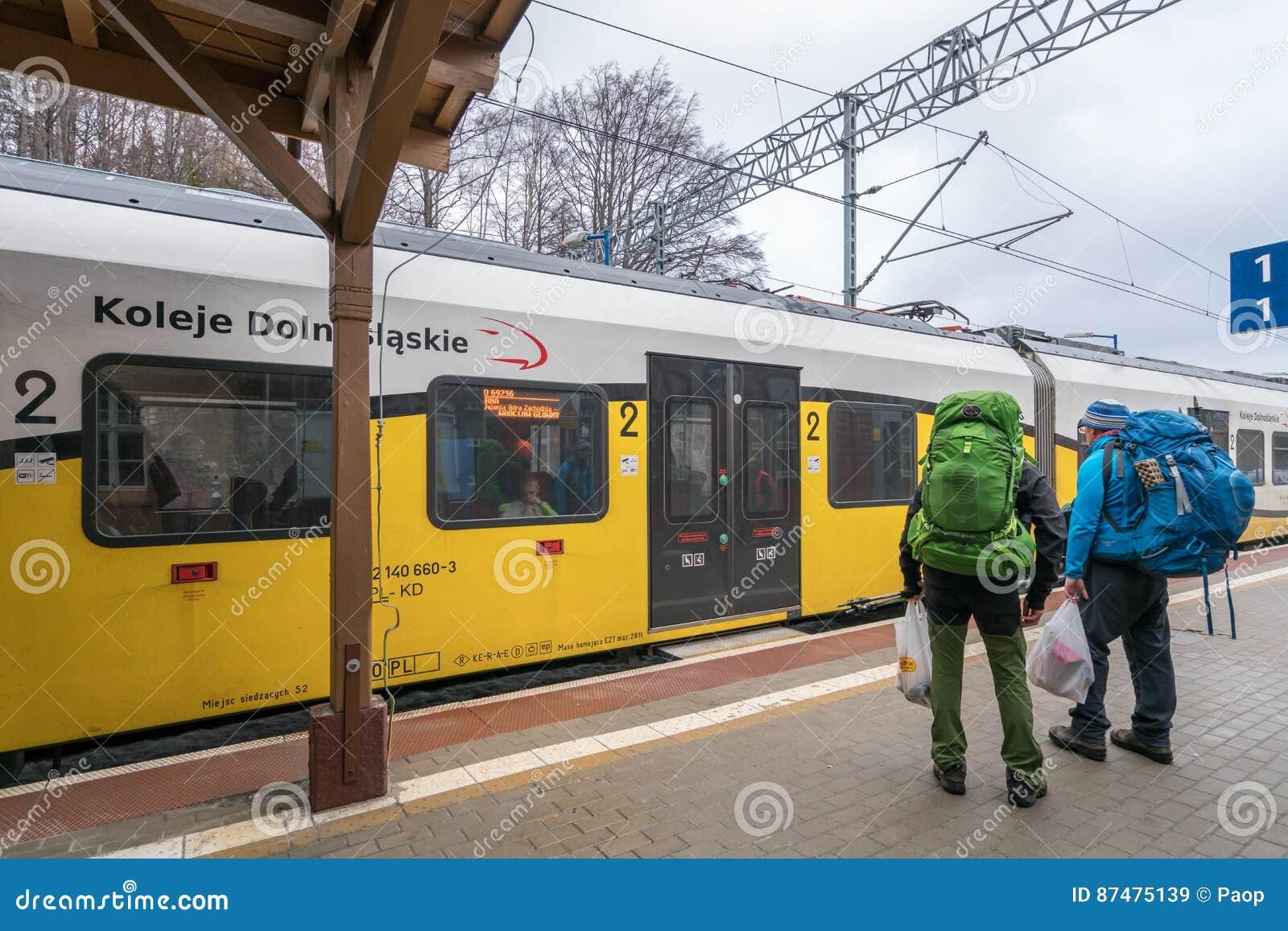Backpackers всходя на борт поезда
