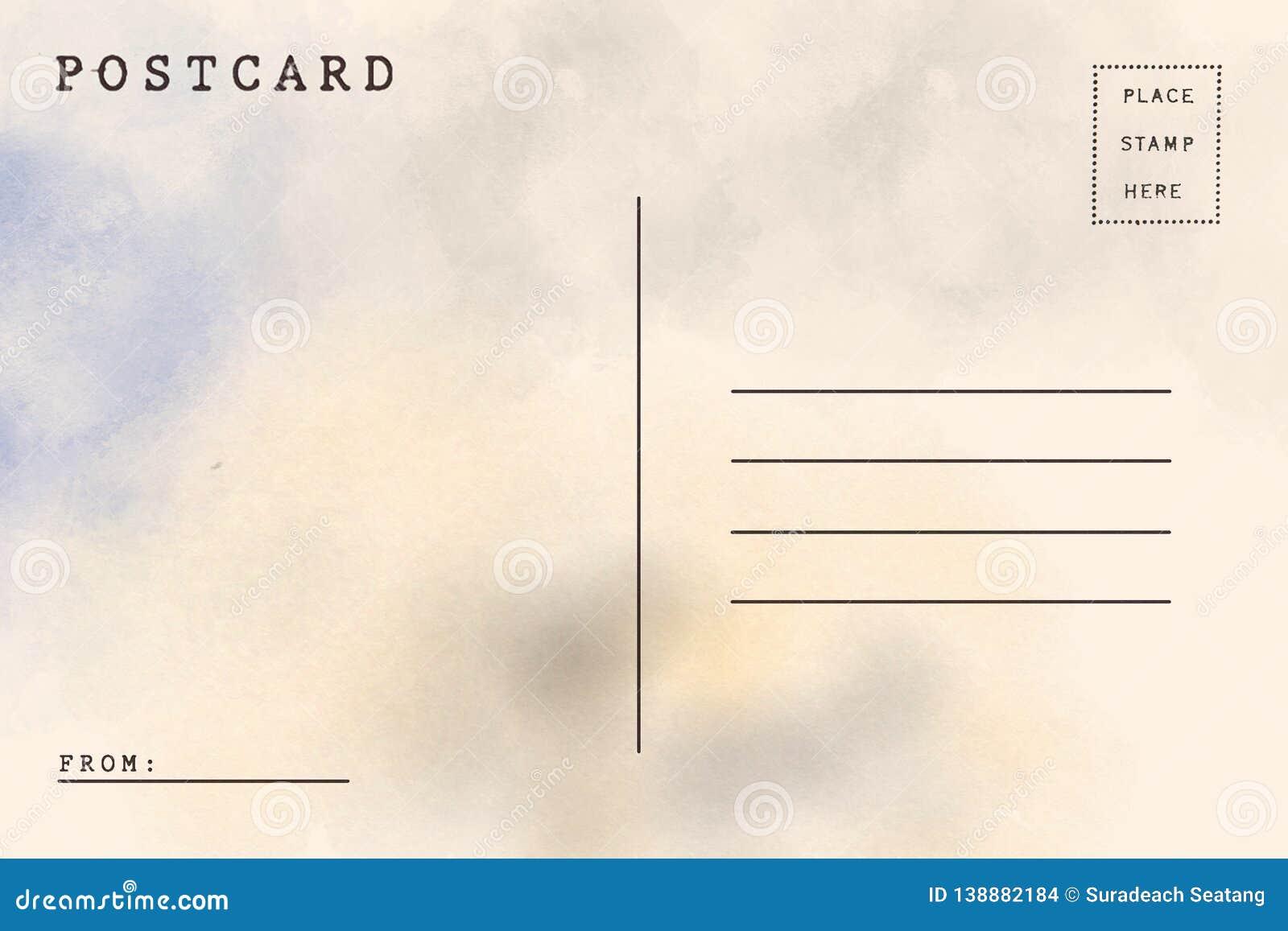 Backside of blank postcard