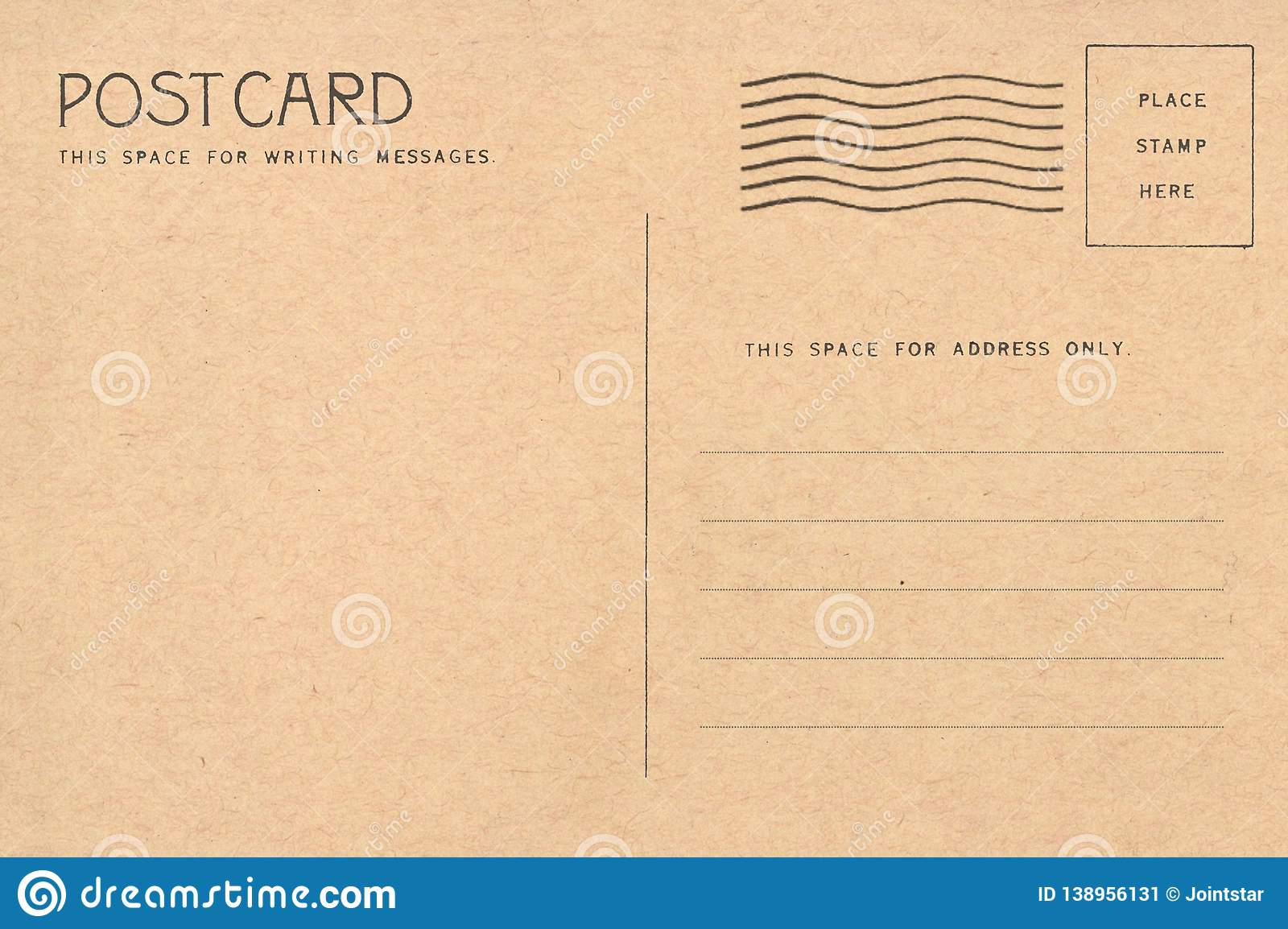 Backside of blank postcard