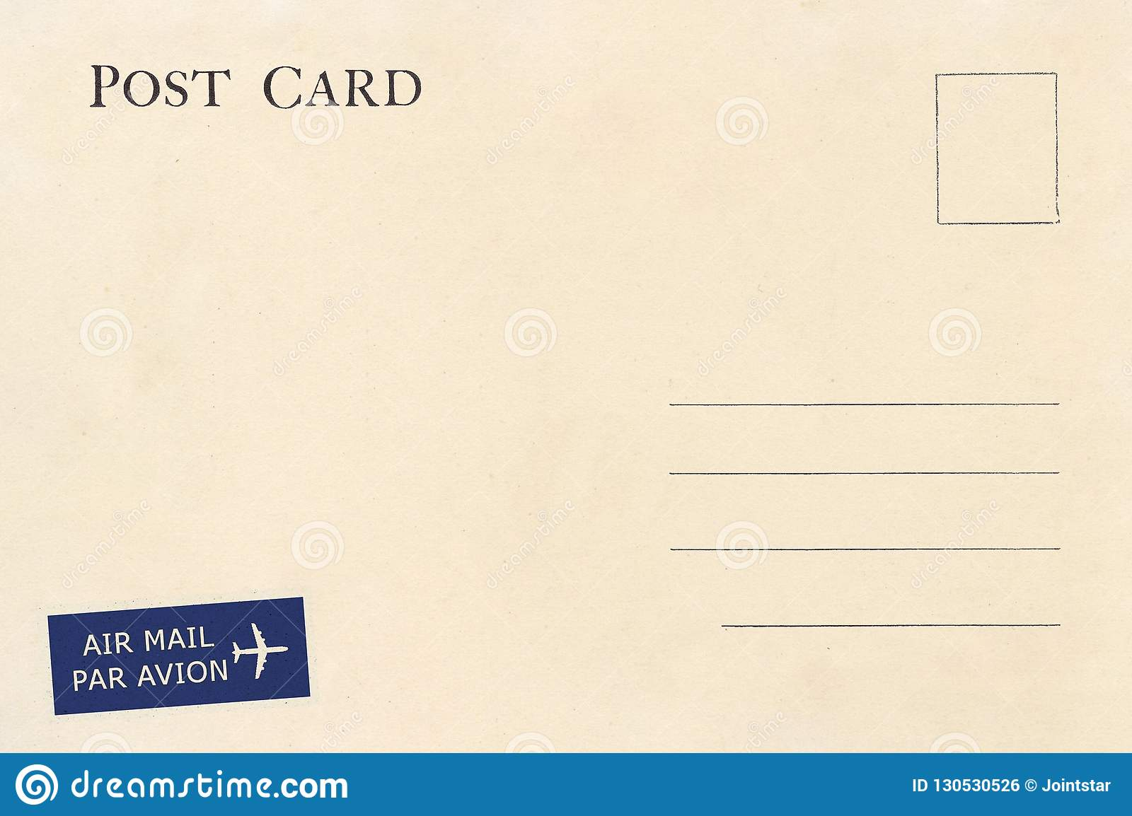 Backside Of Blank Postcard With Dirty Stain Stock Photo