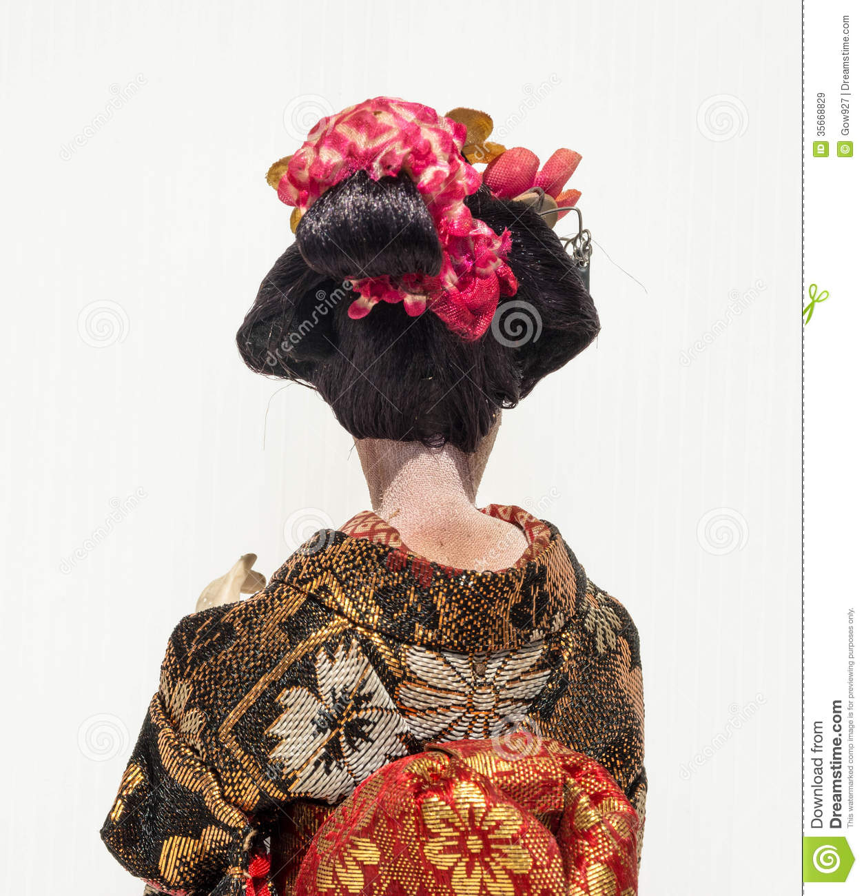 Backside Of Japanese Traditional Doll Of Dancing Geisha