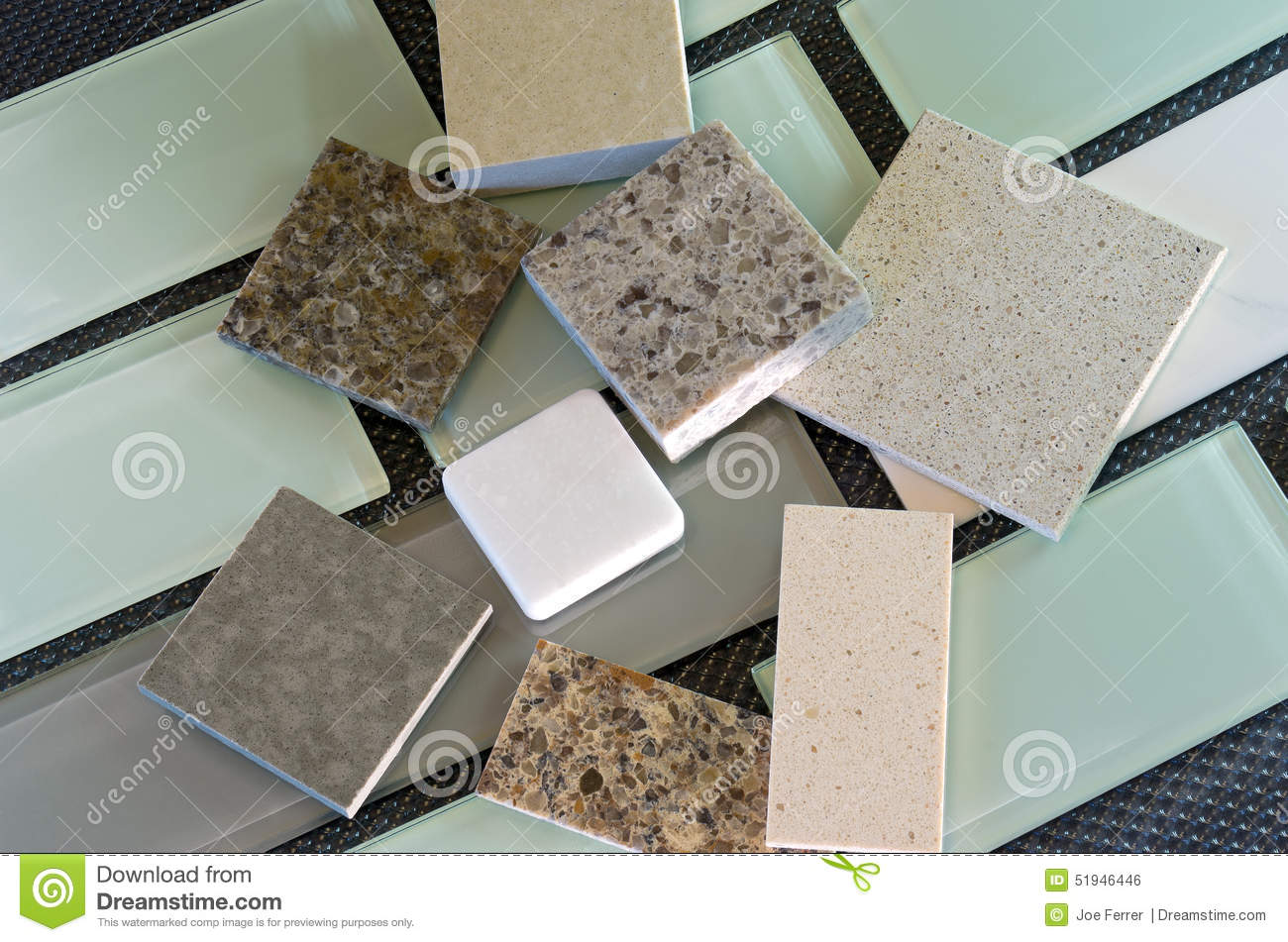 Backsplash Tiles And Quartz Countertop Samples Stock Photo