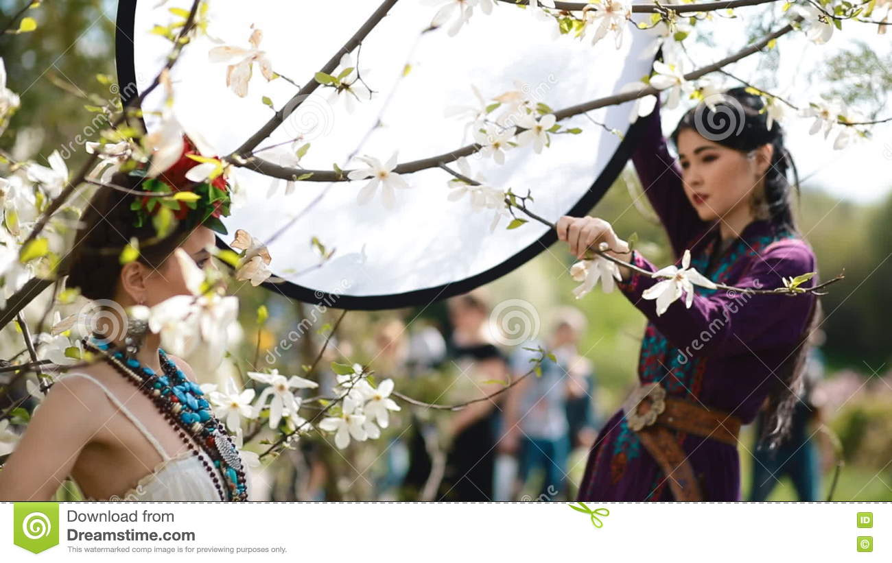 Backstage Of Ethnic Photoshoot Outdoor. Stock Footage   Video Of Elegant,  Bloom: 70715880