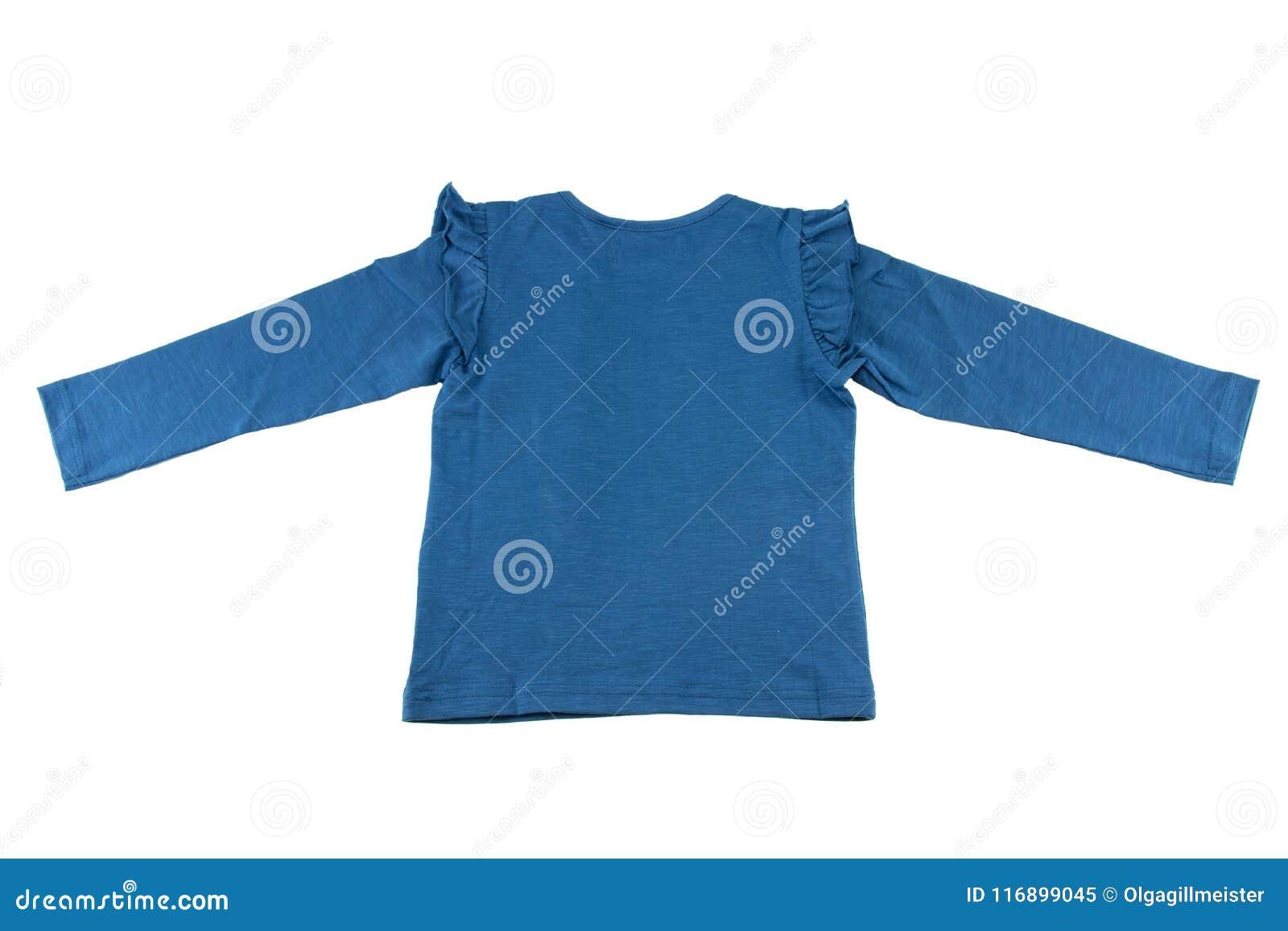 Backview av barns blåa tröja med långa muffar som isoleras på