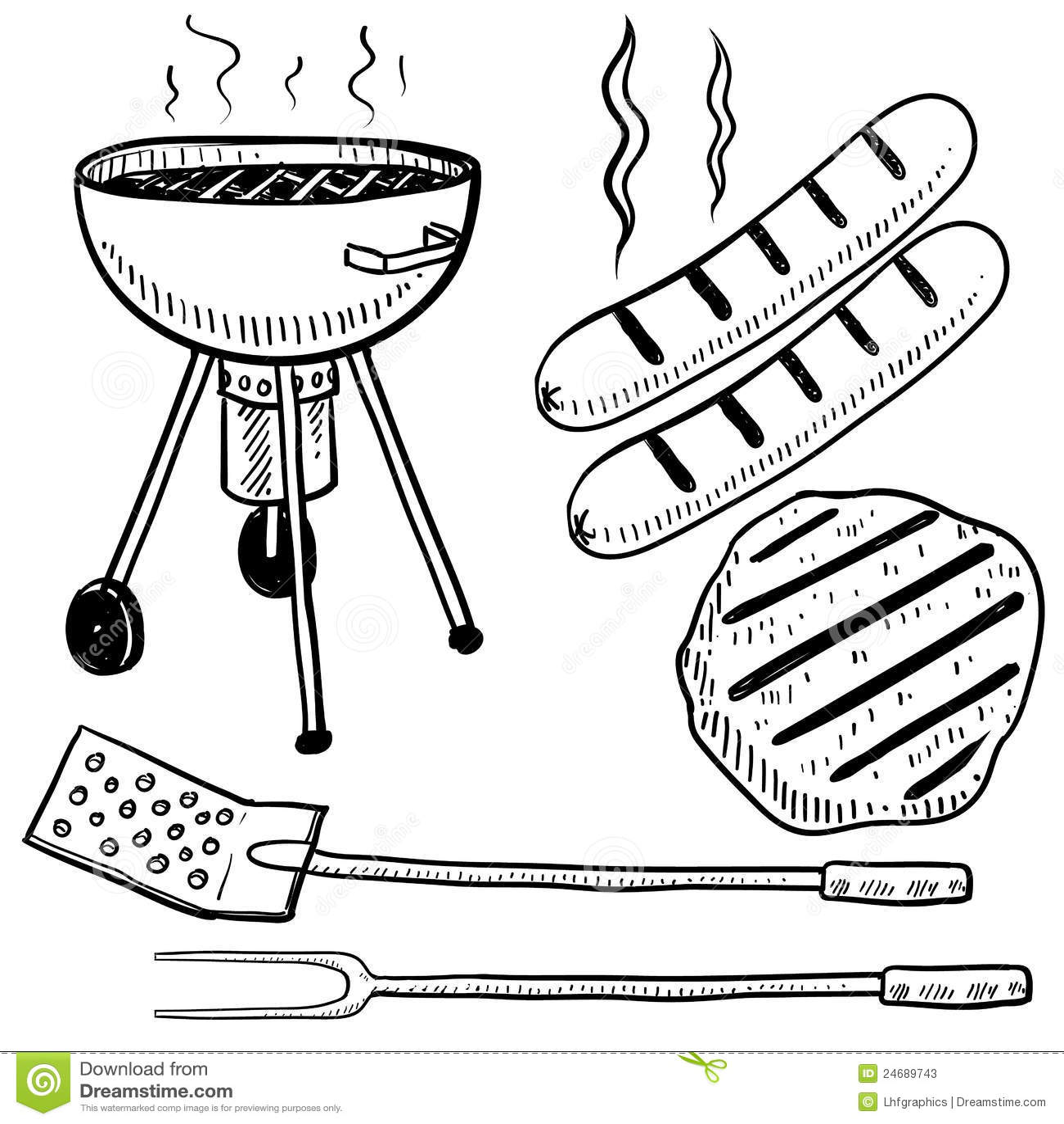 Hipster Backyard Bbq : Backyard Barbecue Equipment Sketch Stock Photos  Image 24689743