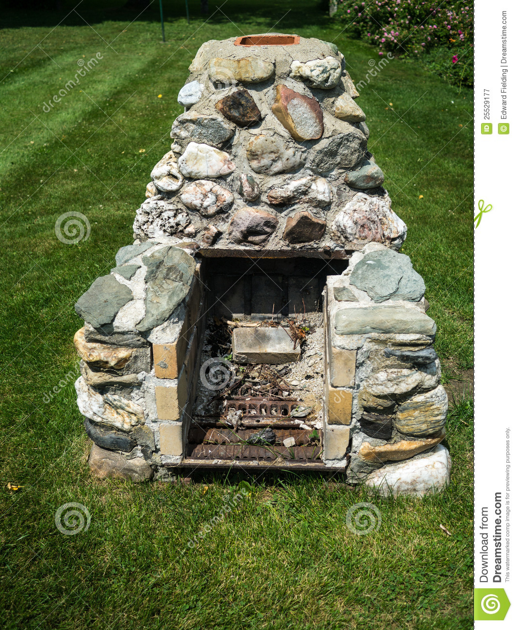 bbq or grilling outdoor fireplace for cooking in the backyard