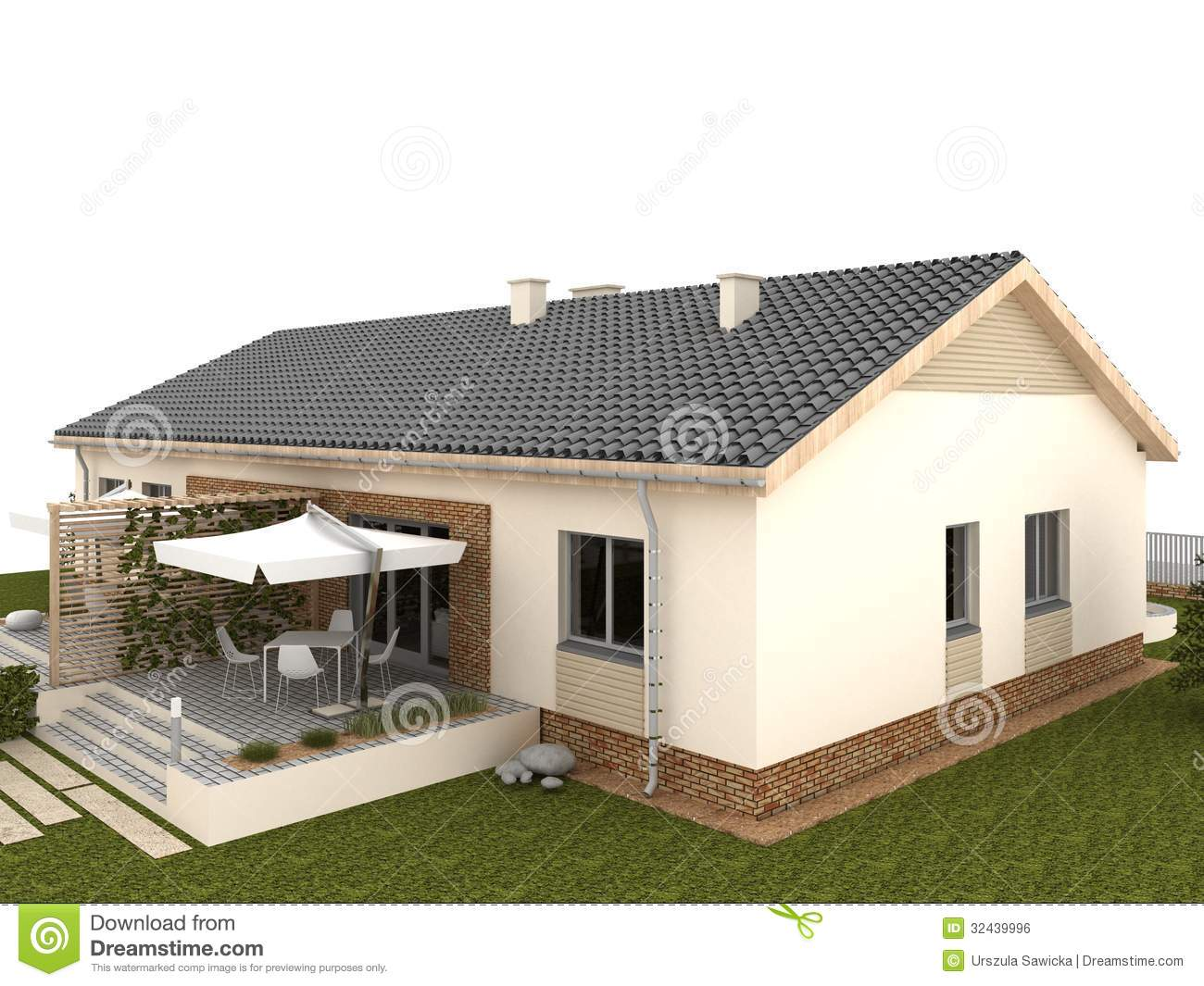 Backyard of classic house with terrace and garden royalty for Terrace of house