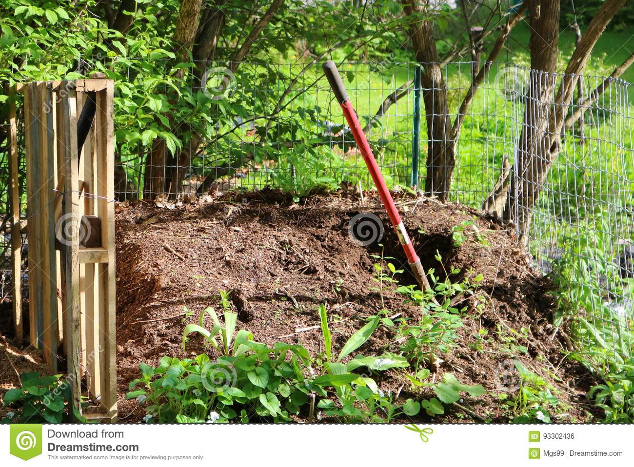 backyard compost pile stock photo image 93302436