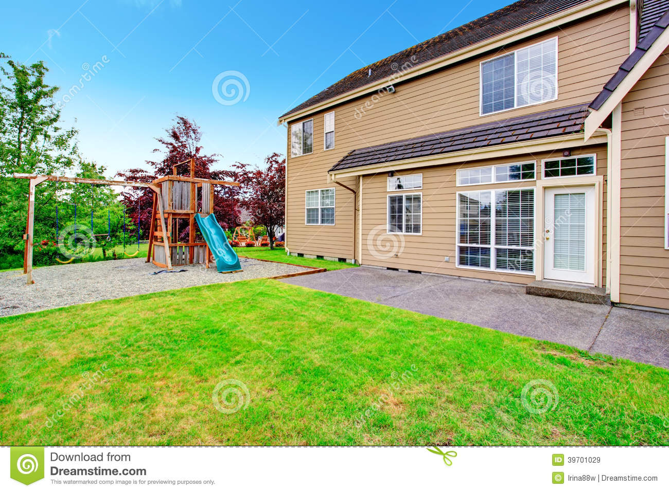 Backyard Deck. View Of Playground Stock Image - Image of ... on House Backyard Deck id=33062