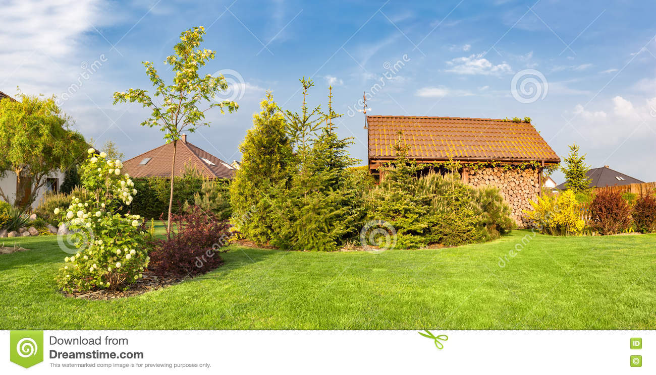 backyard of a family house landscaped garden with green mown