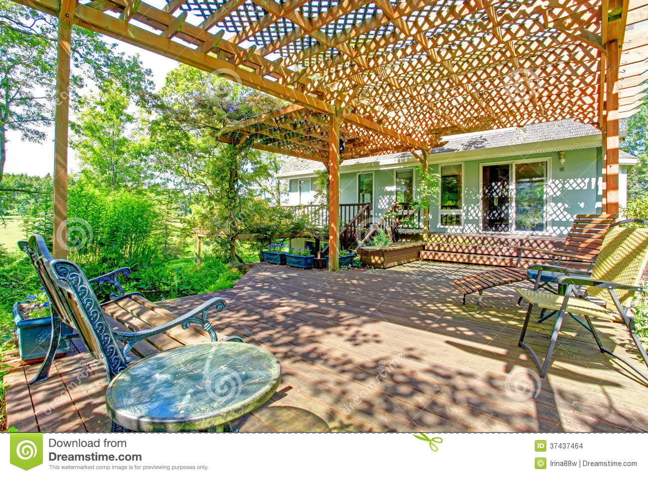 Great idea for farm house backyard. Big wood deck extended to pergola ...
