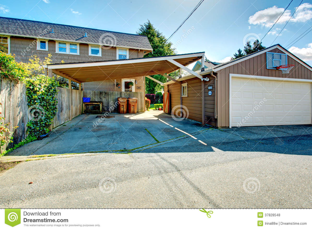 backyard with garage and basketball court royalty free stock