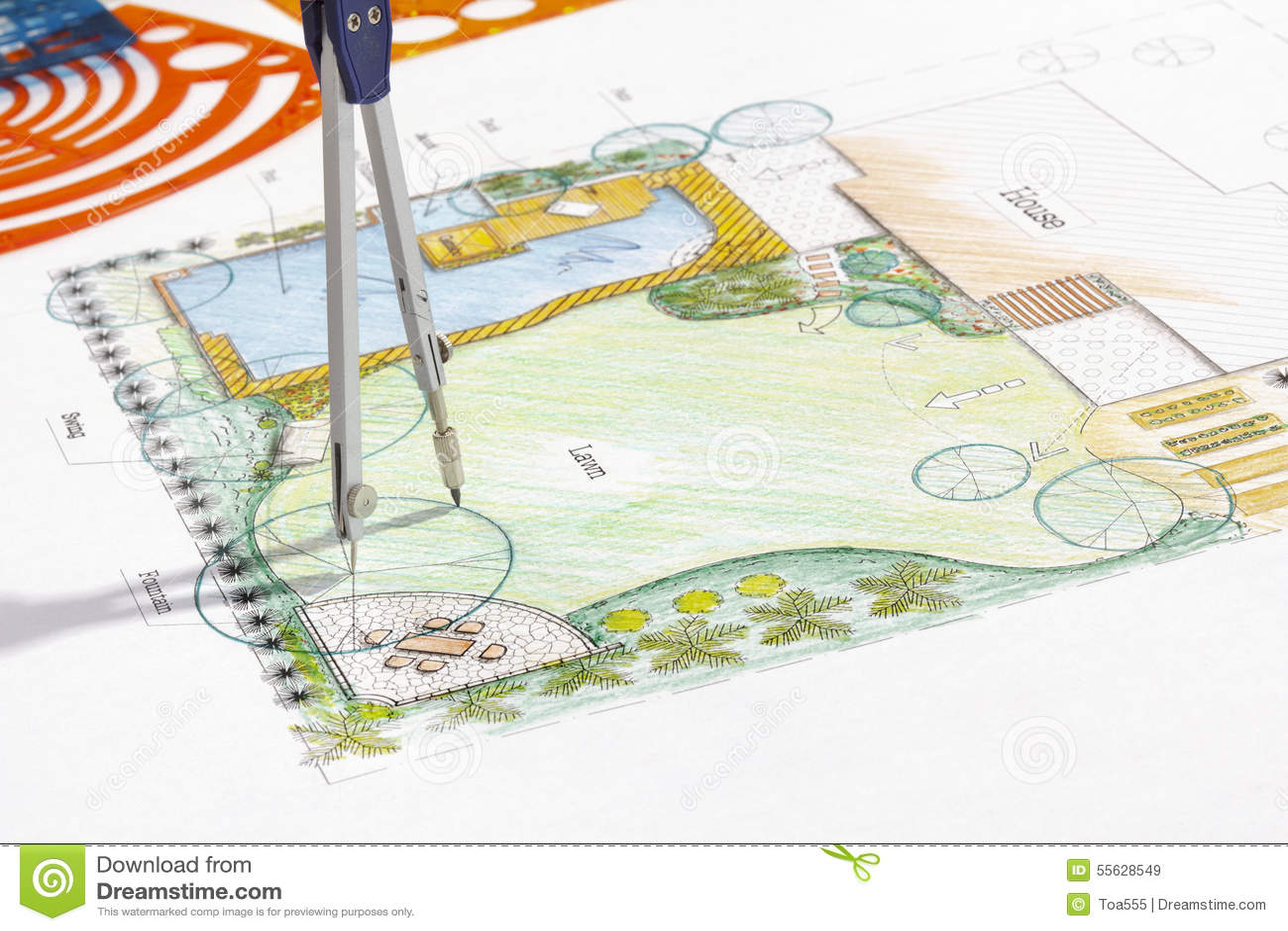 Backyard Garden Design Plan. Stock Image - Image of ornamental ...