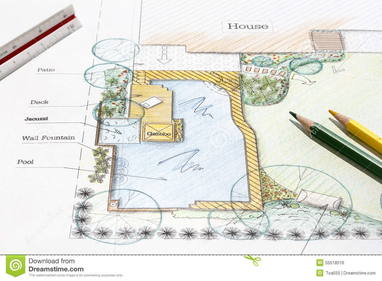 Backyard garden design plan stock photo image of pencil for Garden design blueprint
