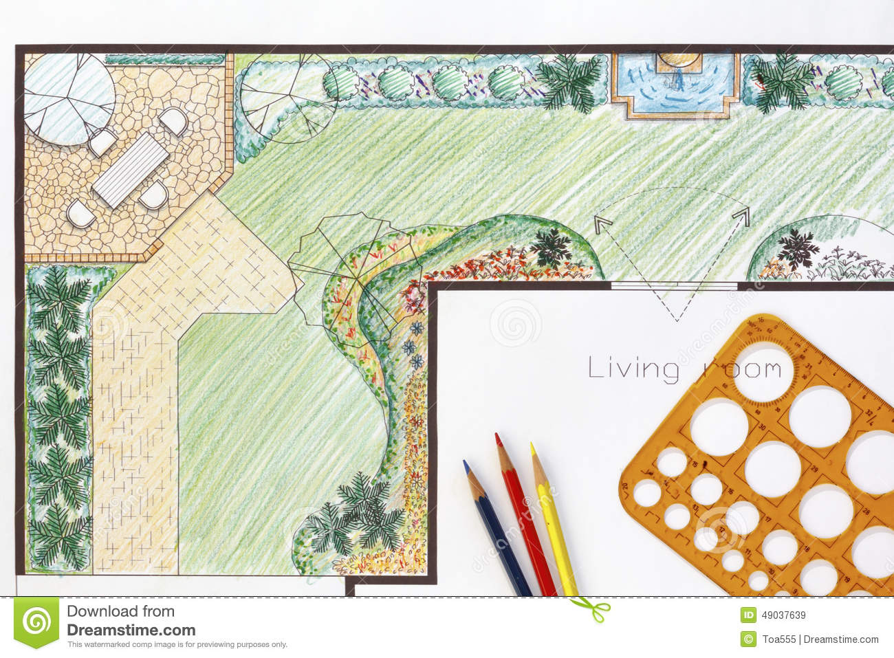 Backyard Garden Plan With Stone Patio Royalty Free Stock Images