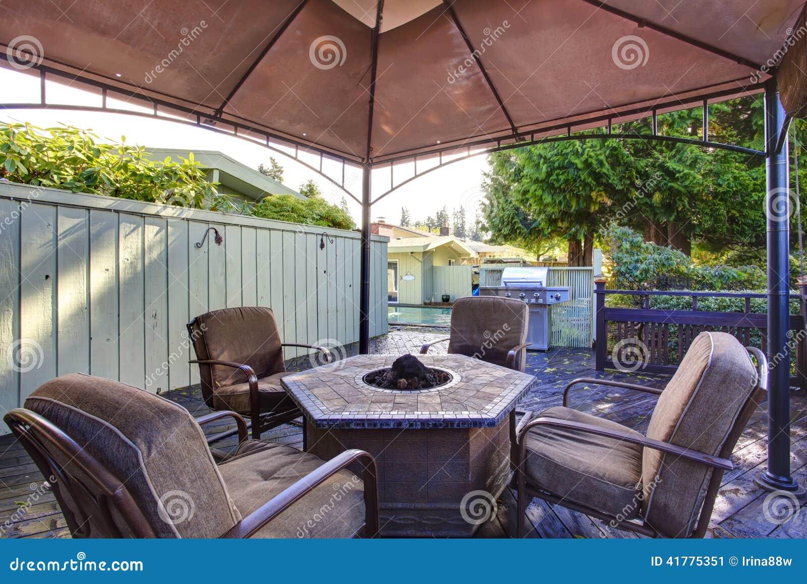 Backyard Gazebo With Patio Set Stock Image Image Of Back Rental 41775351