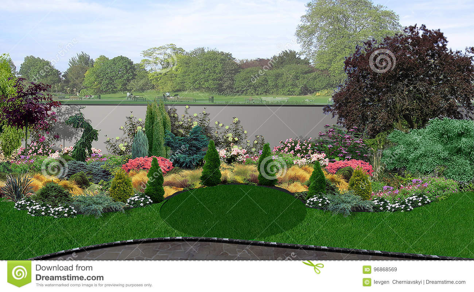 Backyard Green Design Composition, 3d Render Stock Illustration