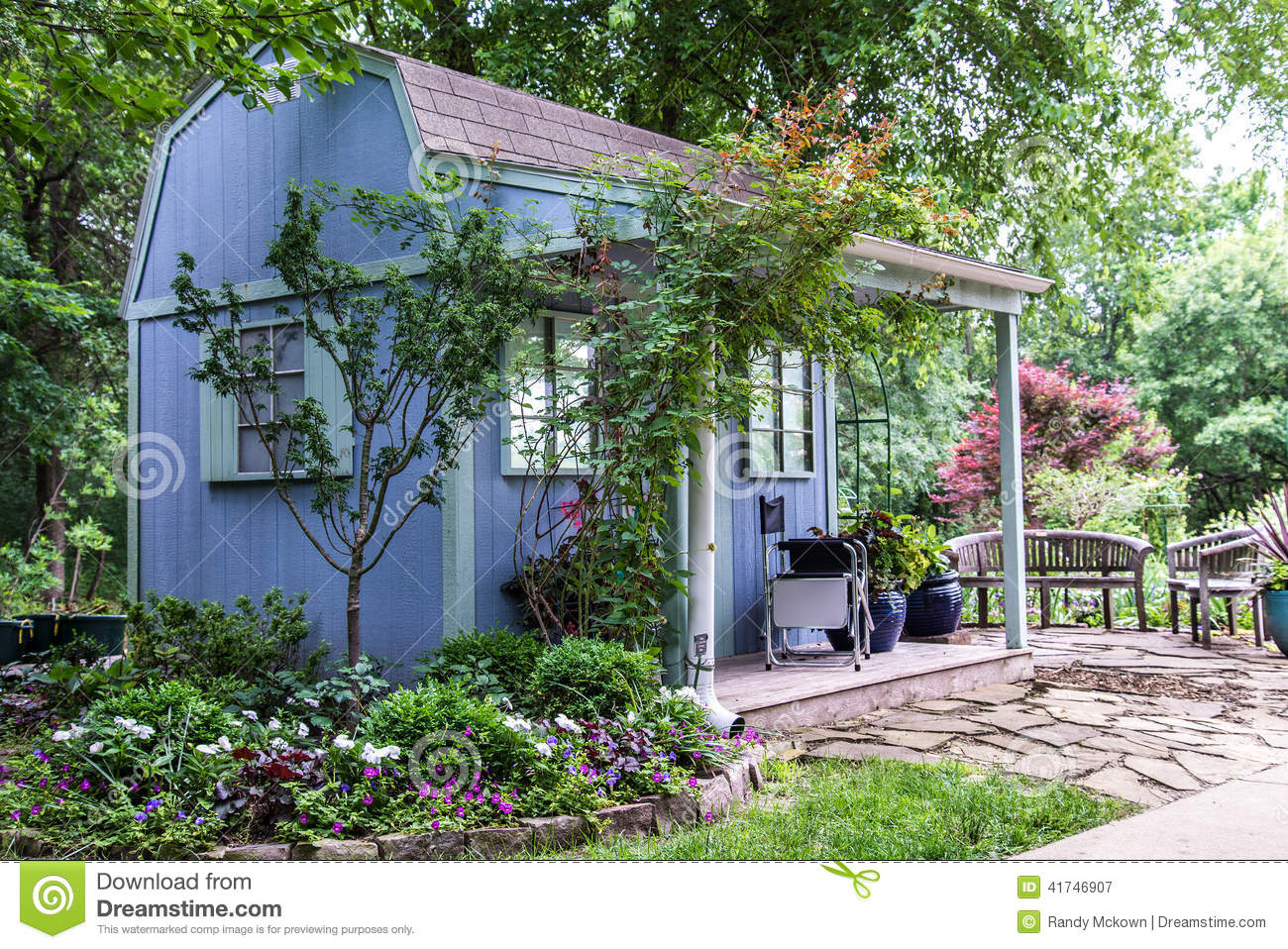 Backyard Landscaping Garden Shed Stock Photo Image 41746907
