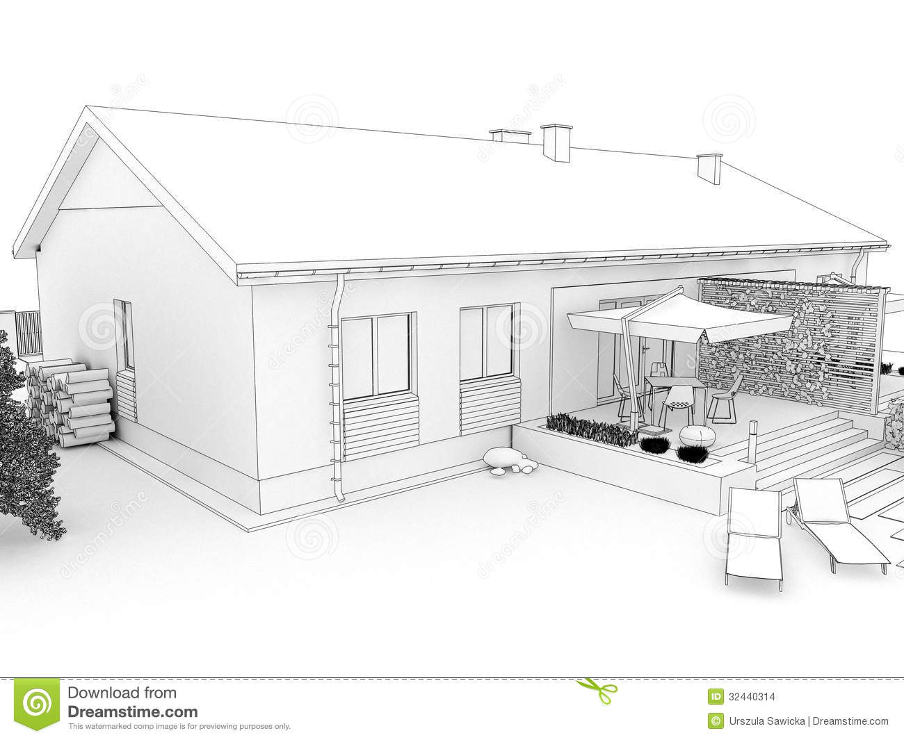 Backyard Of Modern House With Terrace Stock Illustration