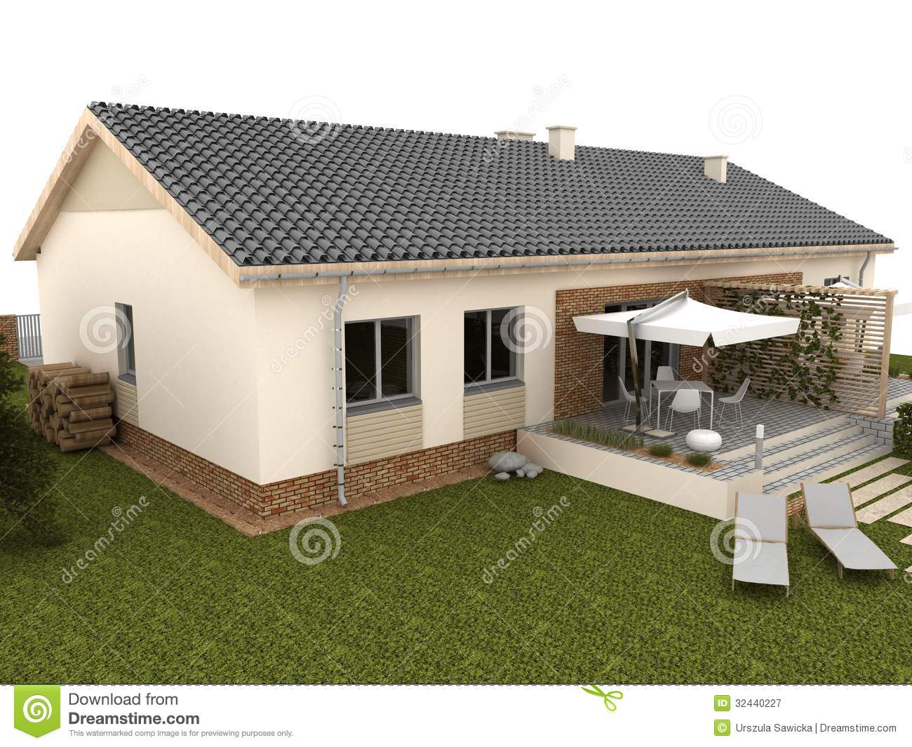 backyard of modern house with terrace and garden stock
