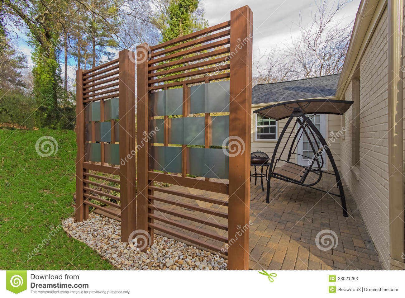 Backyard Patio With Diy Privacy Fence Stock Photos Image
