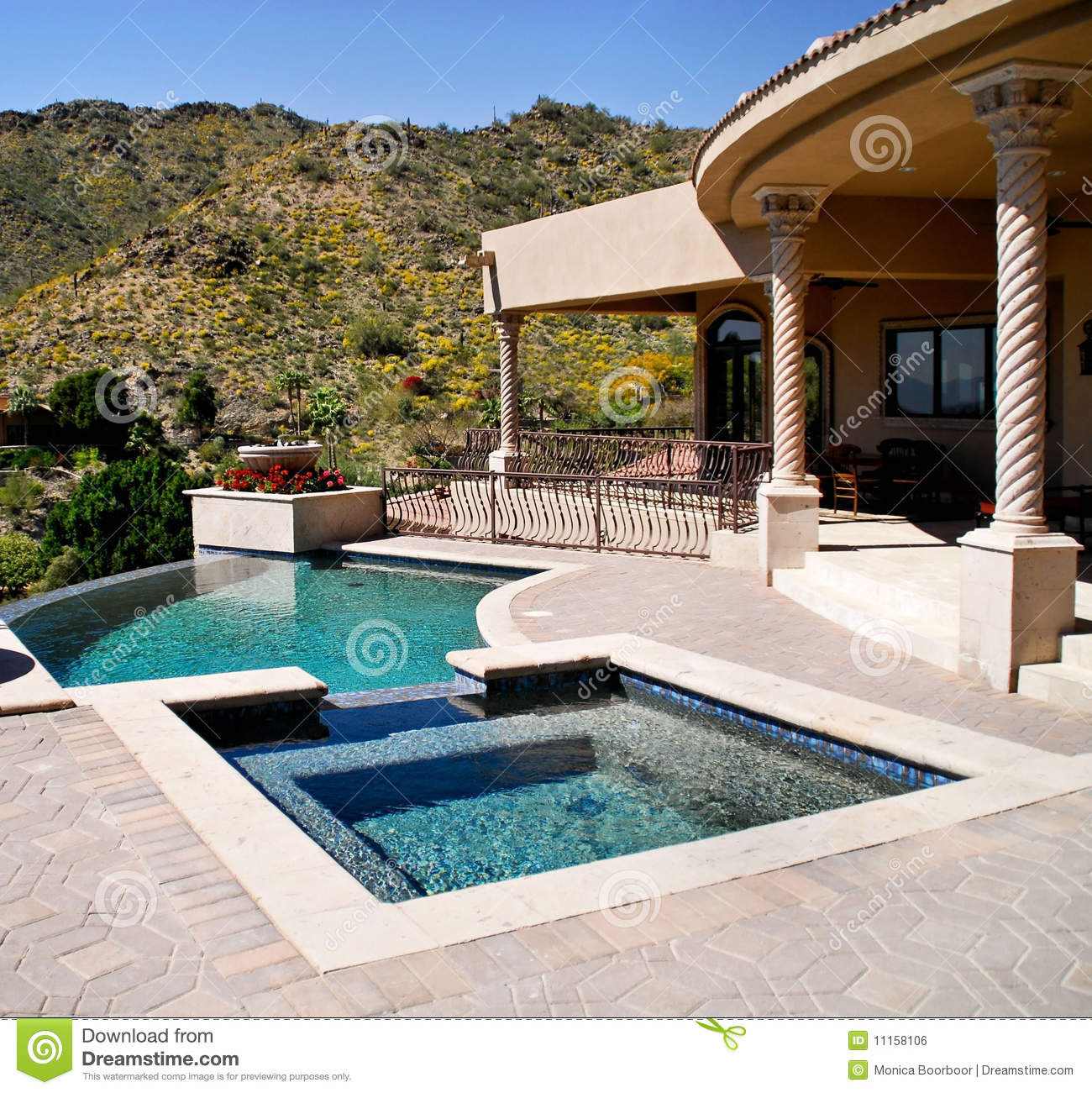 Backyard patio with pool and spa stock photo image 11158106 for Pool design tucson