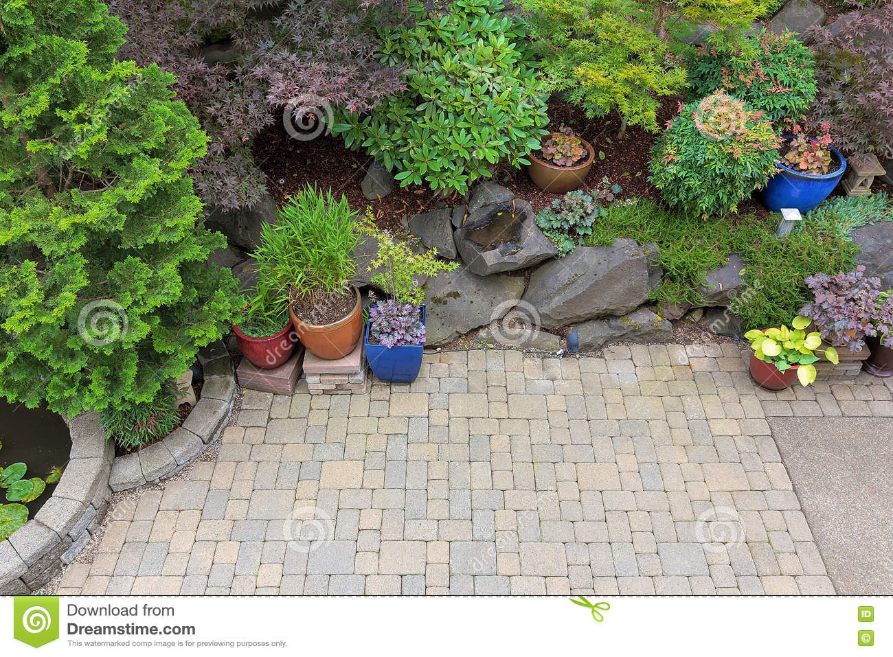 backyard paver patio landscaping overview stock photo image