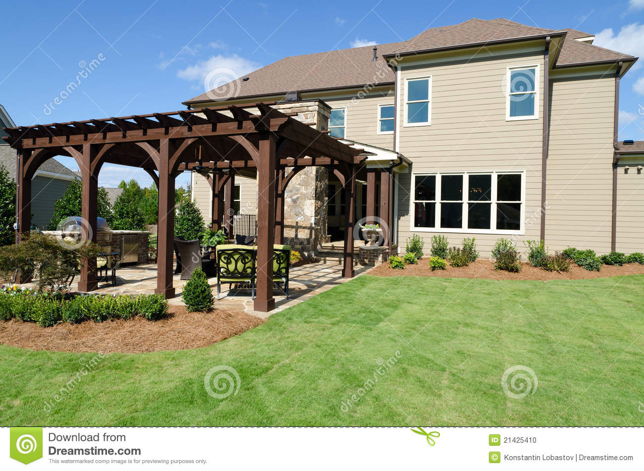 Backyard With Pergola backyard with pergola stock photo 21425410 - megapixl