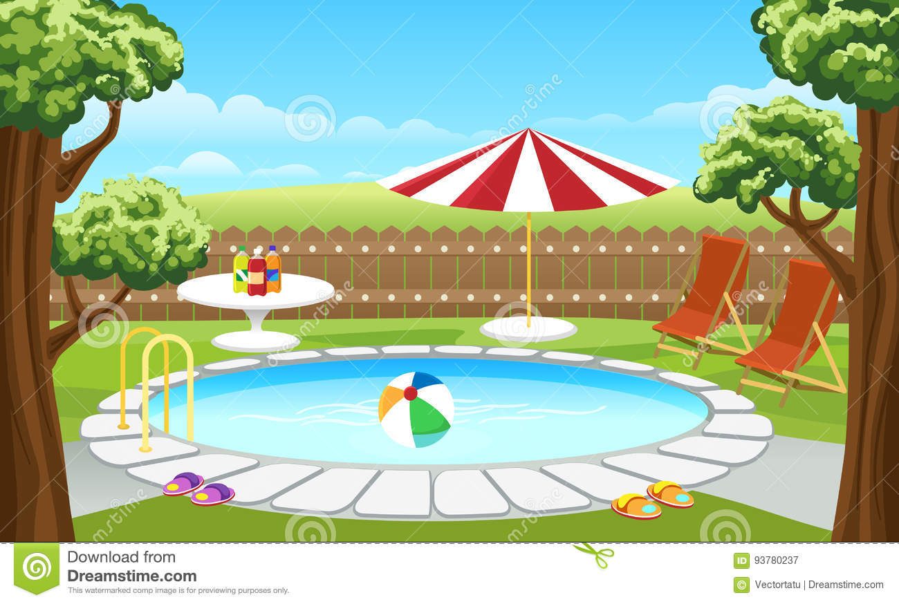 Backyard Pool With Fence And Parasol Stock Vector ...