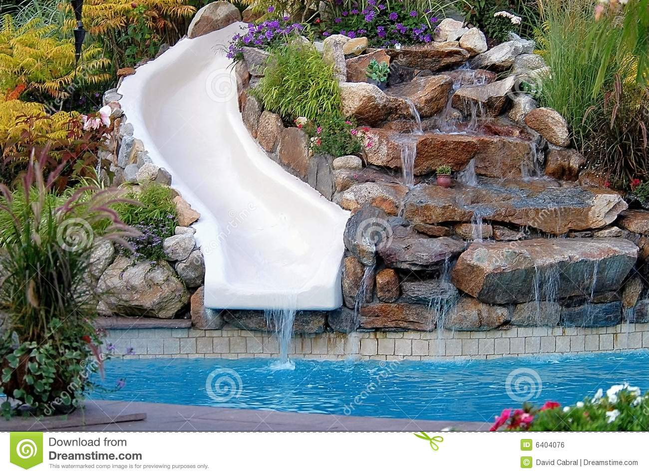 Backyard Pool And Slide Royalty Free Stock Image Image