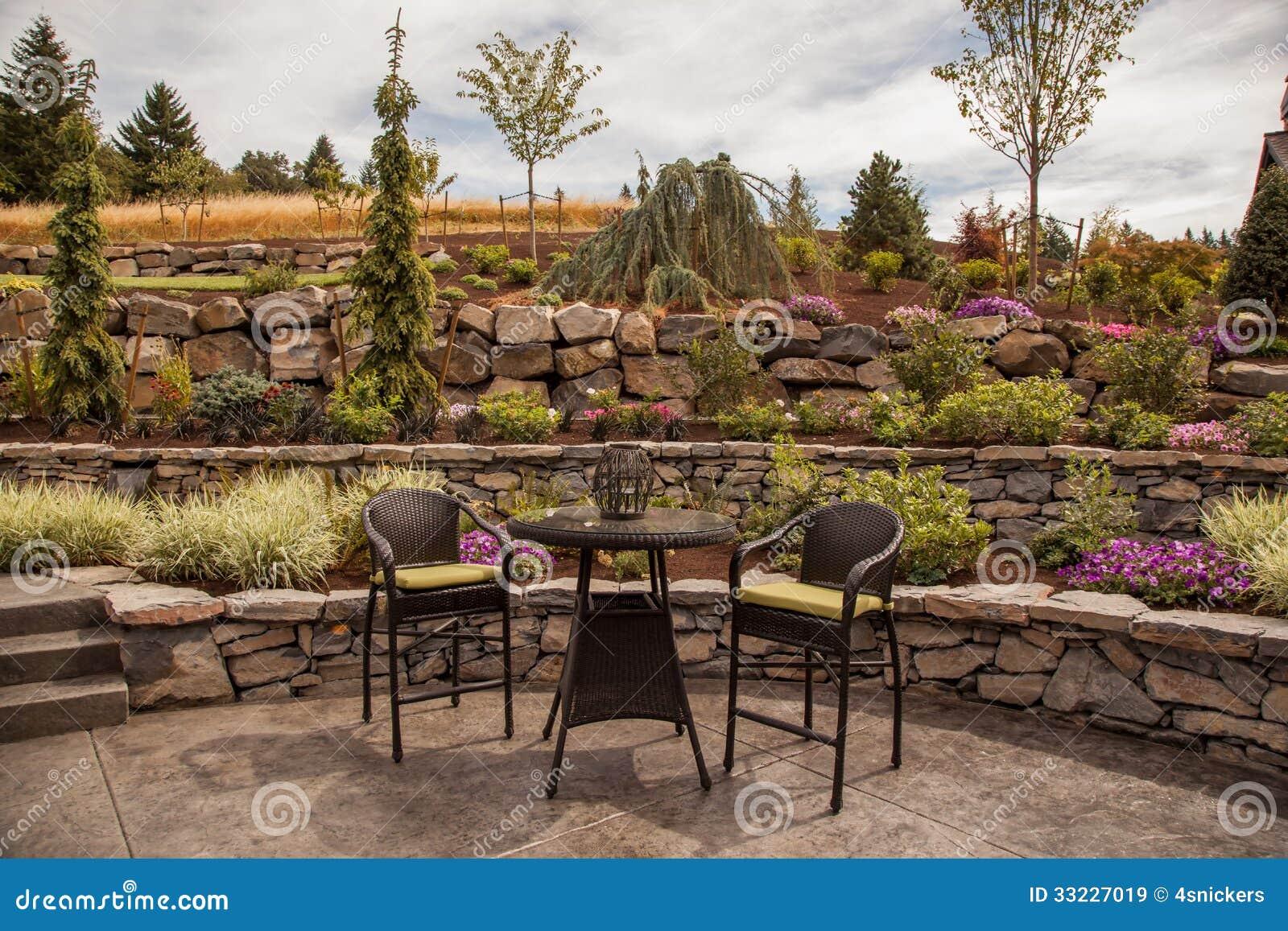 Modern Stone Terraced Luxury Yard Royalty Free Stock