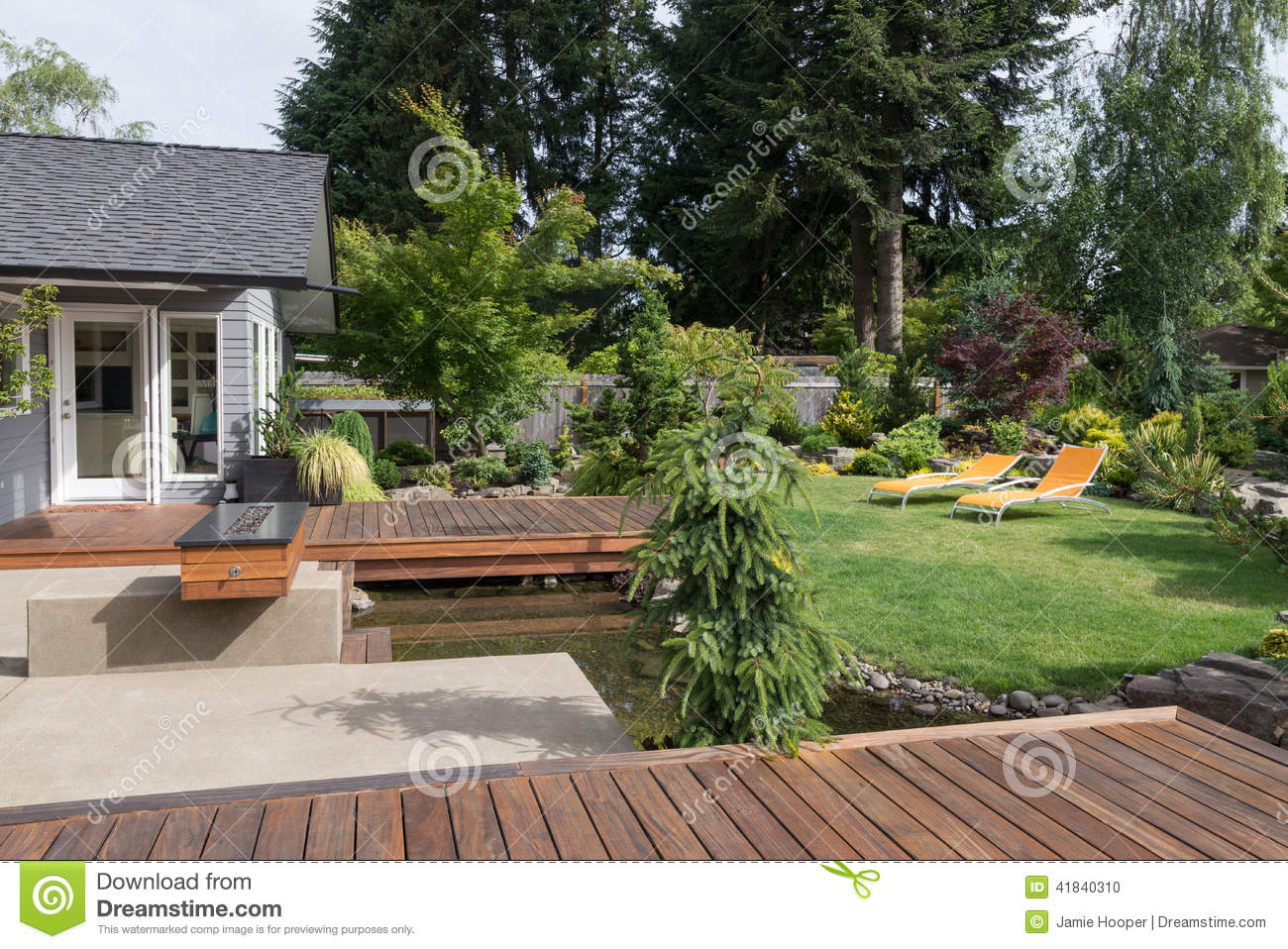 Backyard Retreat Stock Photo Image Of Grass Deck Relaxing
