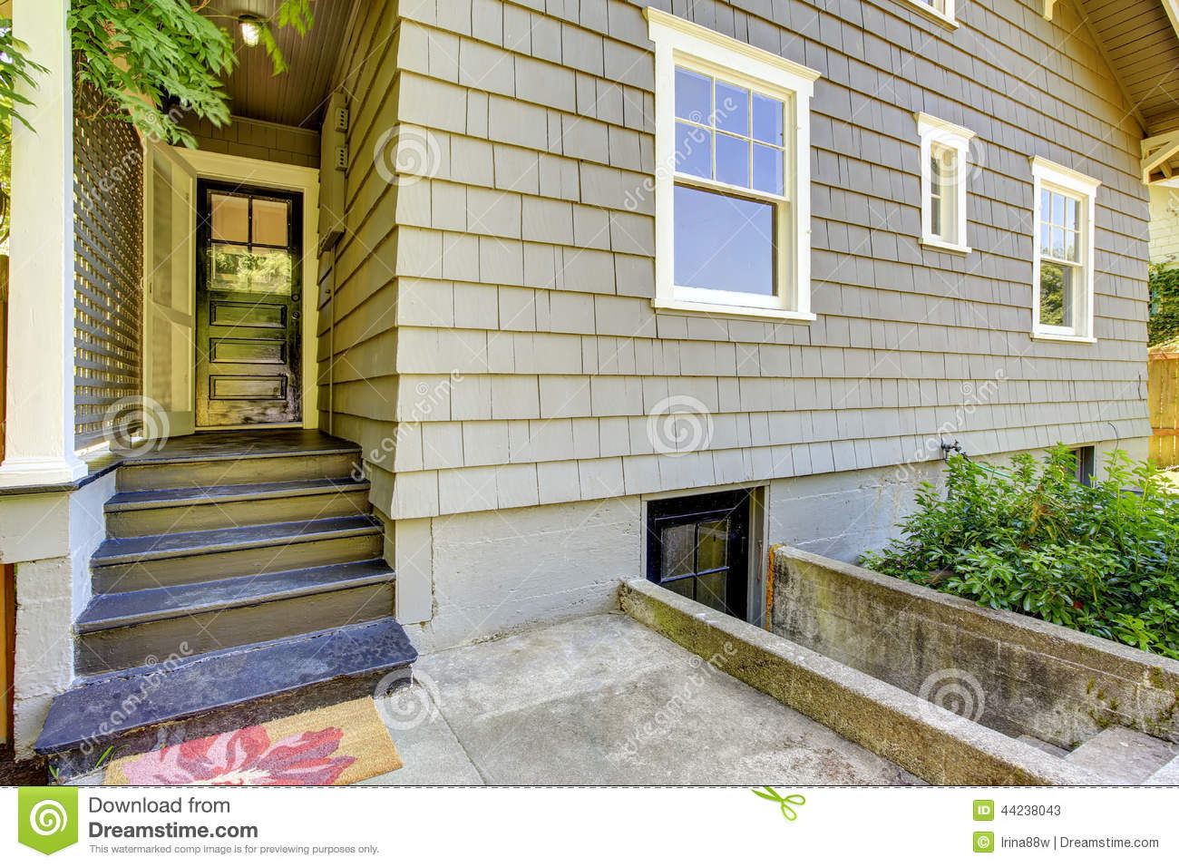 Backyard small porch house exterior design stock photo for Design siding on my house