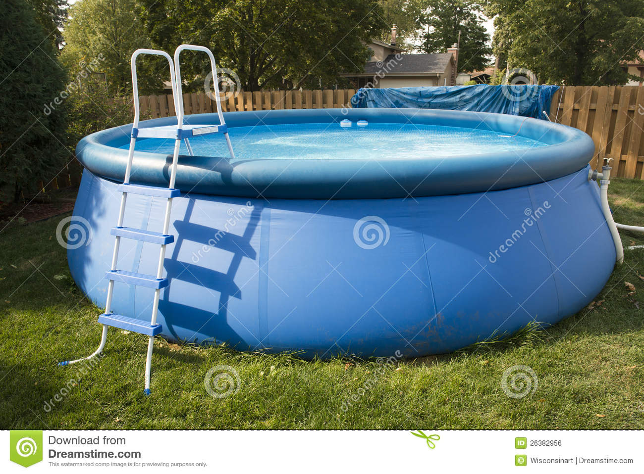 Backyard Swimming Pool - Backyard Swimming Pool Stock Photo. Image Of Inflatable - 26382956