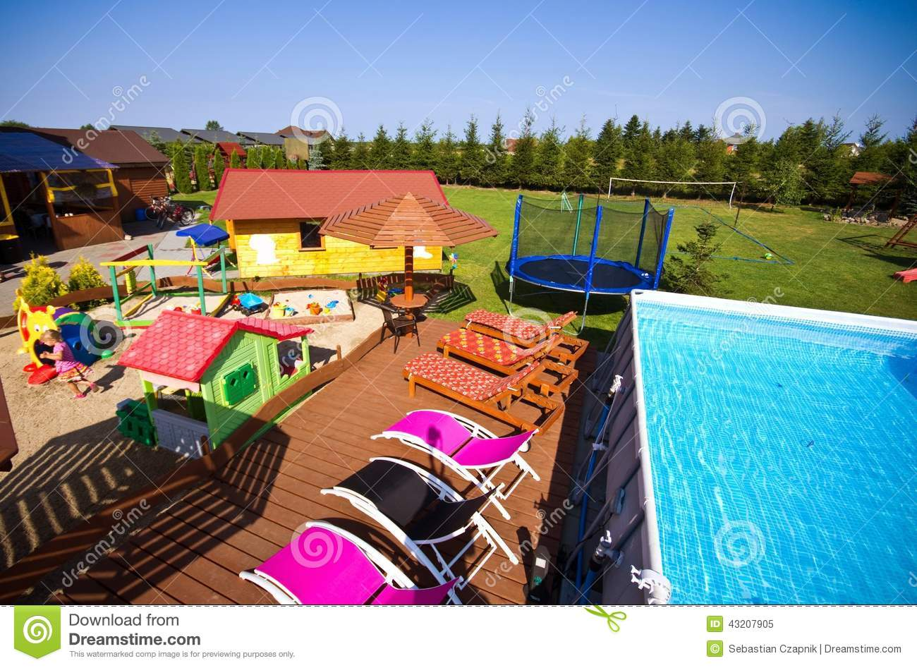 Huge Backyard Swimming Pool : colorful backyard with big swimming pool, children play area, deck