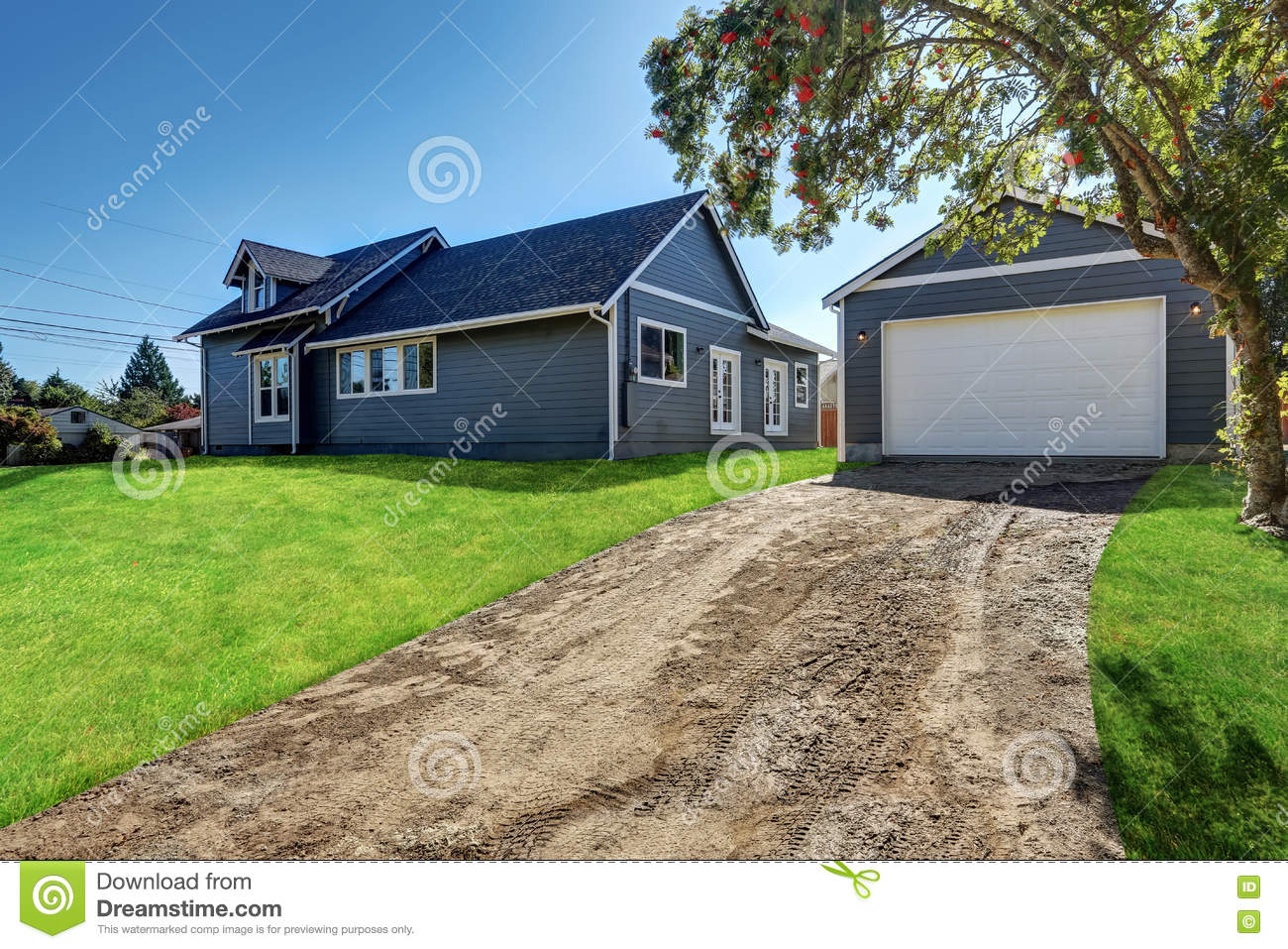 detached garage and driveway stock photo image 79369814