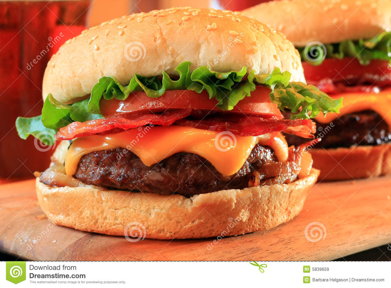 Bacon Cheeseburgers Royalty Free Stock Images - Image: 5839659