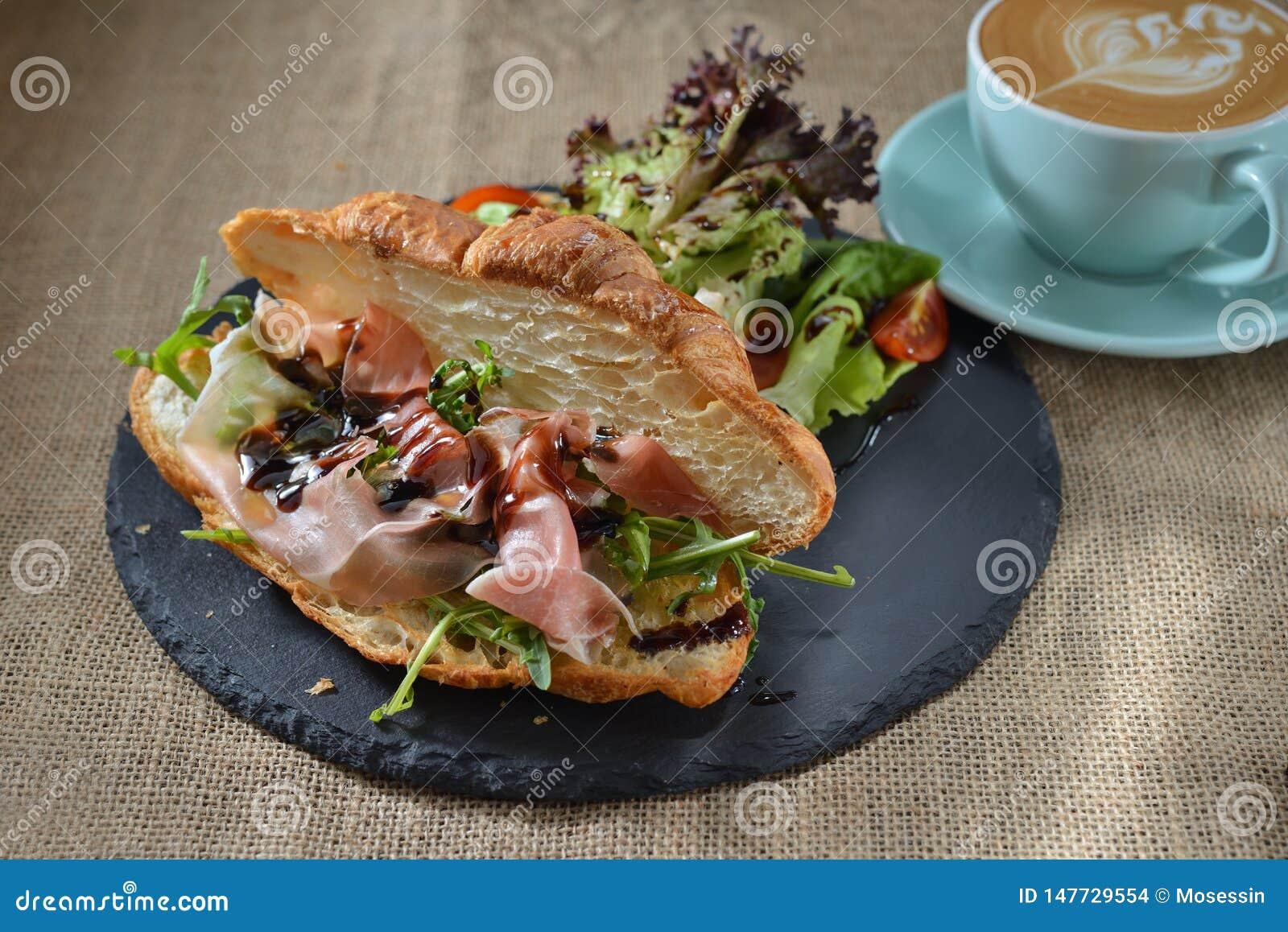 Bacon Croissant Rocket bun breakfast