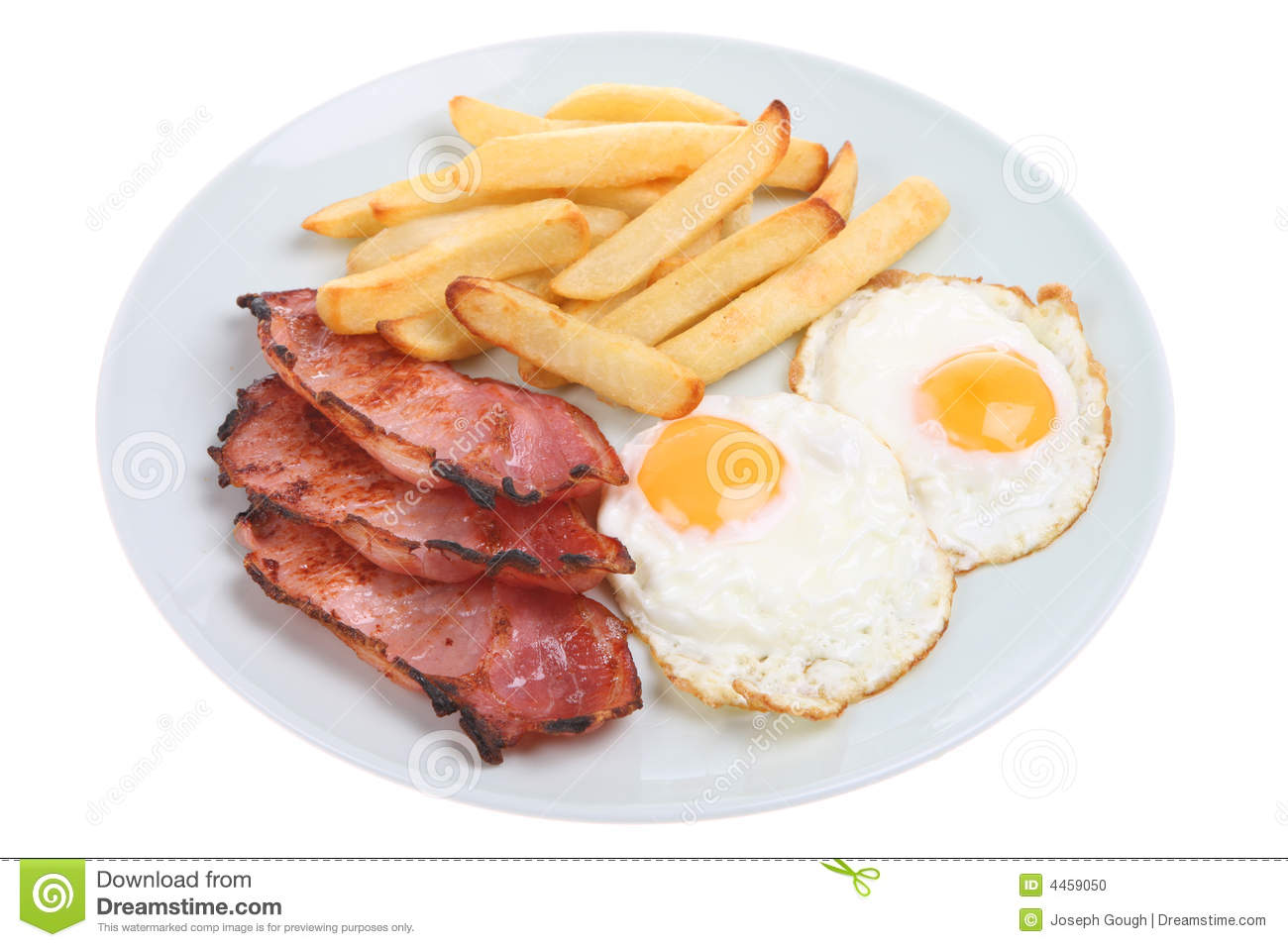 Unhealthy Food Plate Bacon, Egg & Chips...